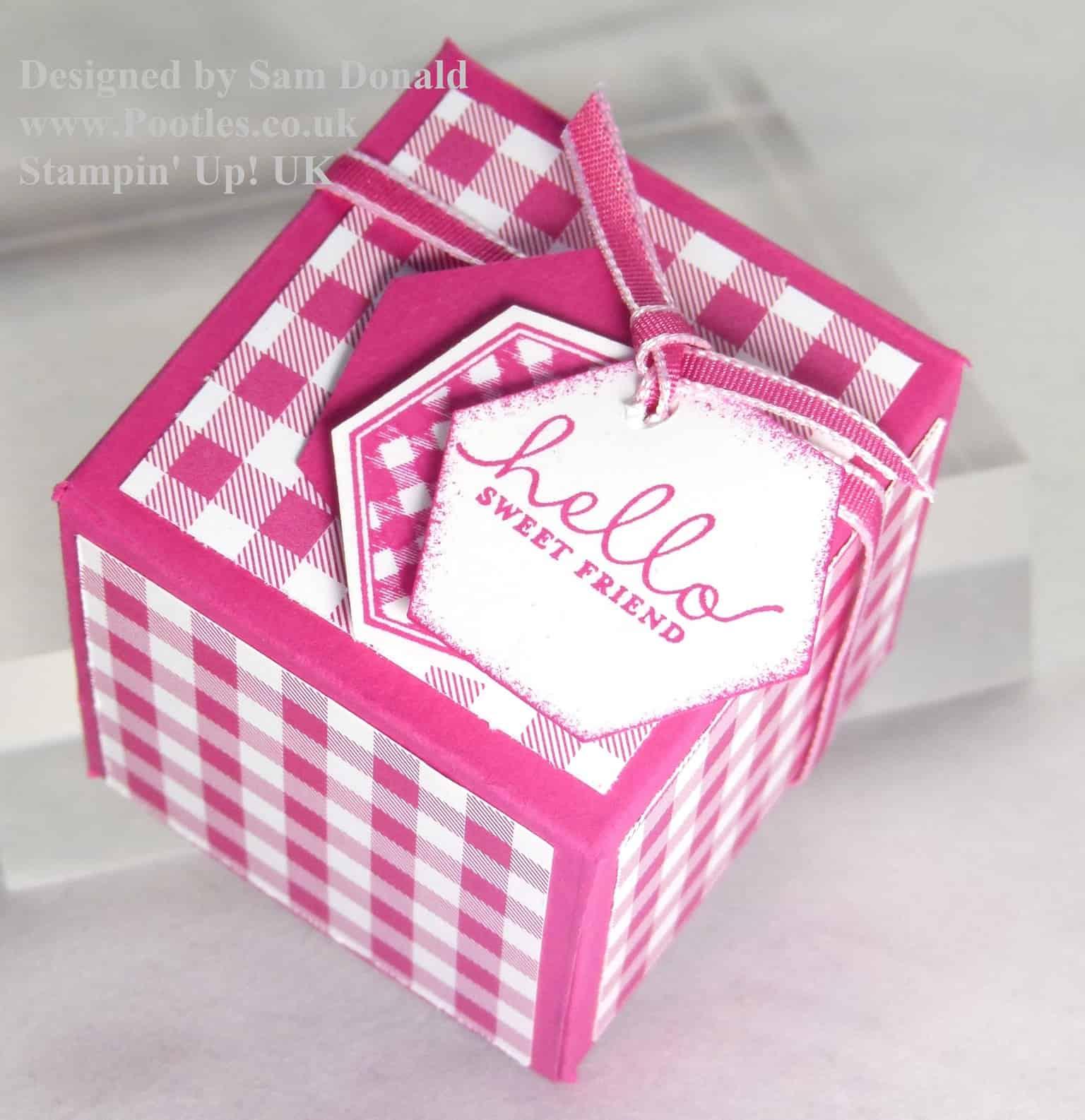 Pootles Stampin Up UK 2x2x2 Cube Fold Flat Favour Box