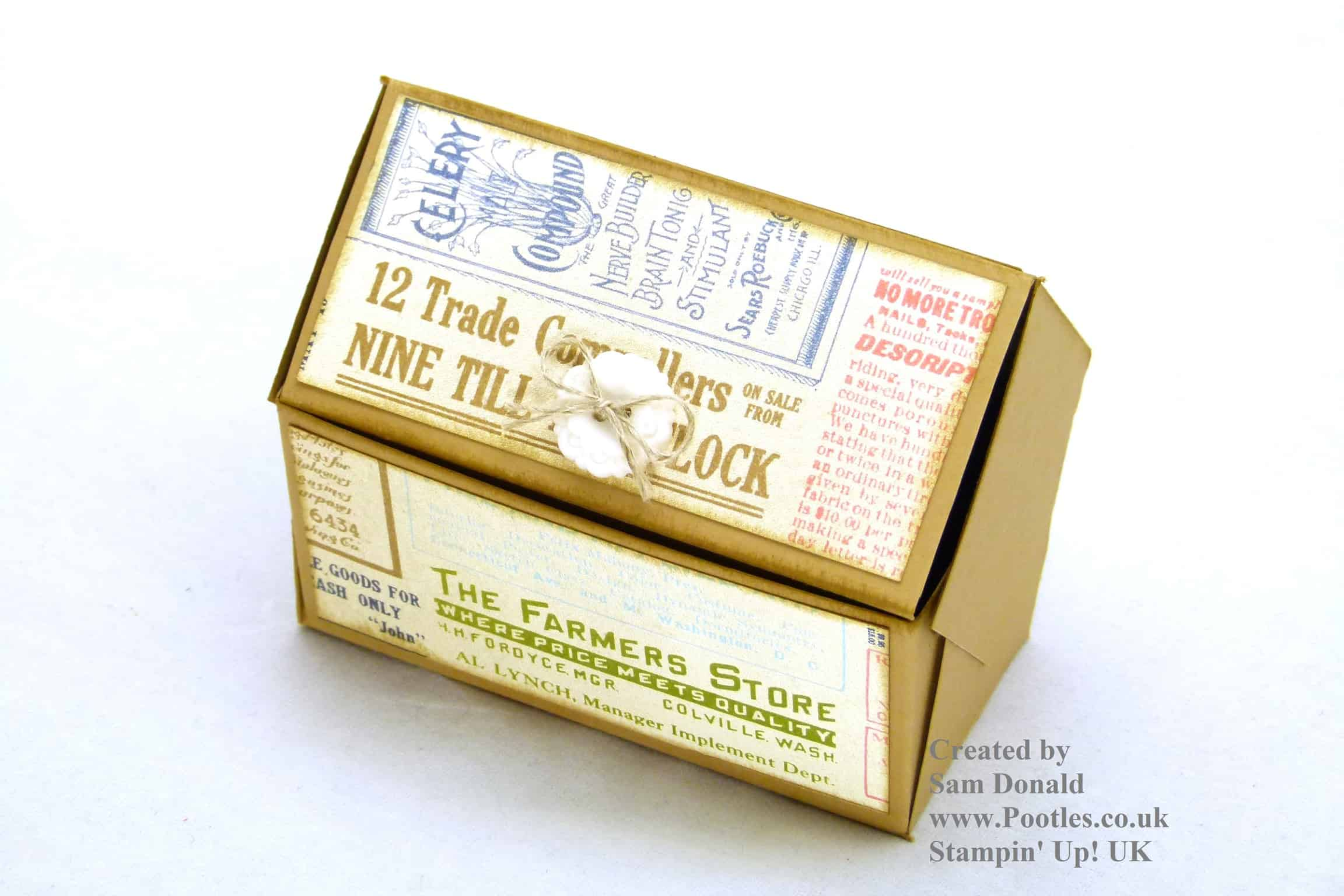 Pootles Stampin Up UK Pentagonal Treasure Chest Keepsake Box Tutorial 2