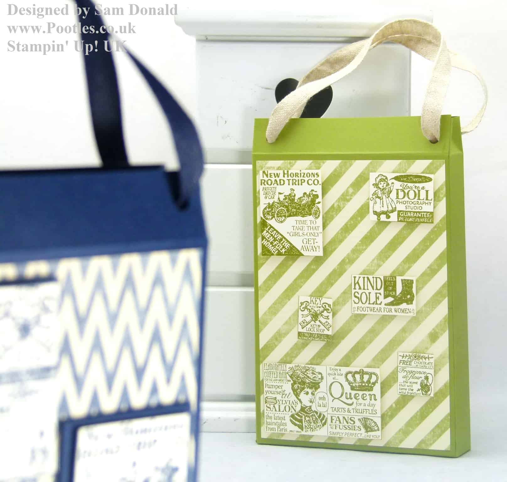 Pootles Stampin Up UK Shopping Bag Card Holder Tutorial 3