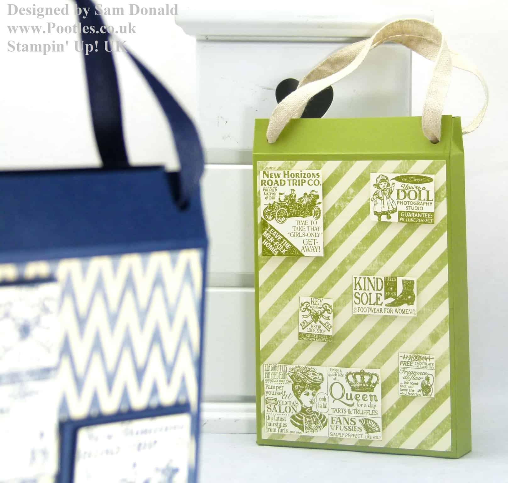 Pootles Stampin Up UK Shopping Bag Card Holder Tutorial 3