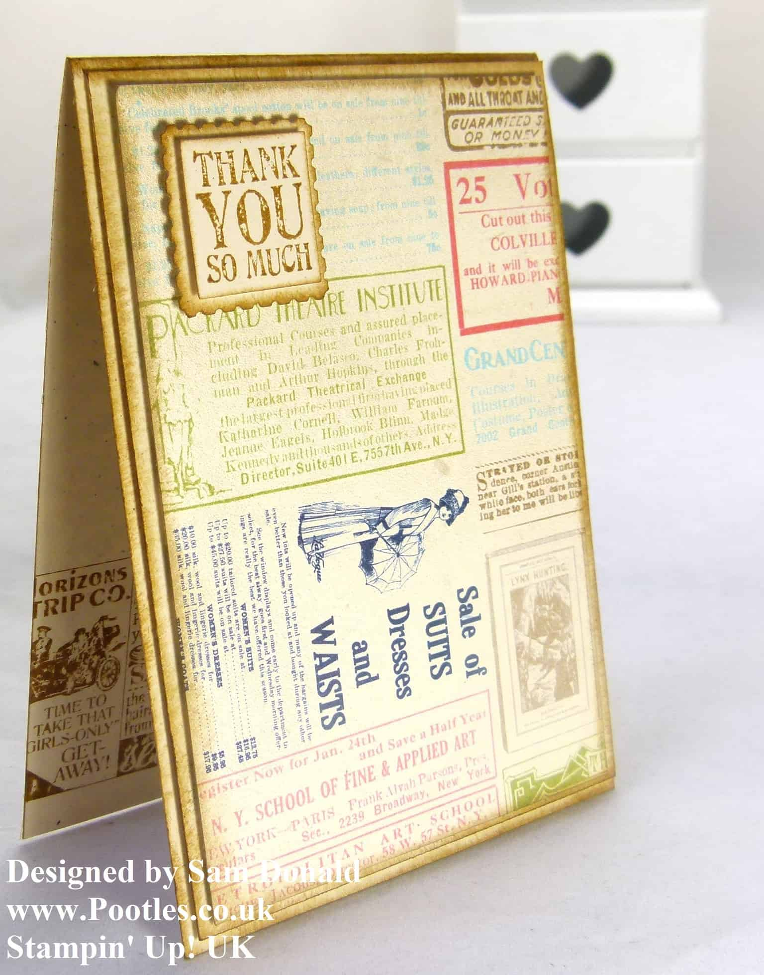 Pootles Stampin Up UK Vintage Style Etcetera Card