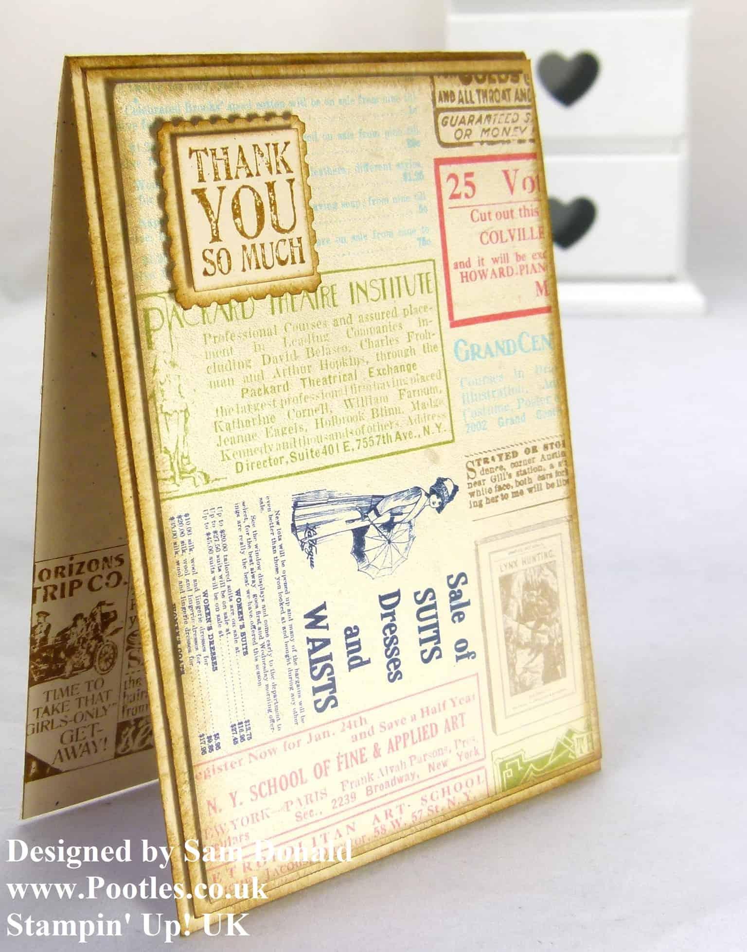 Pootles Stampin Up UK Vintage Style Etcetera Card