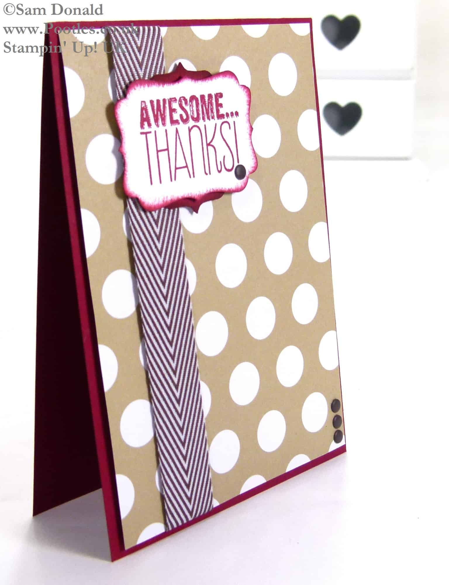 POOTLES Stampin Up UK Awesome Thanks Chocolate Crumb Card 2