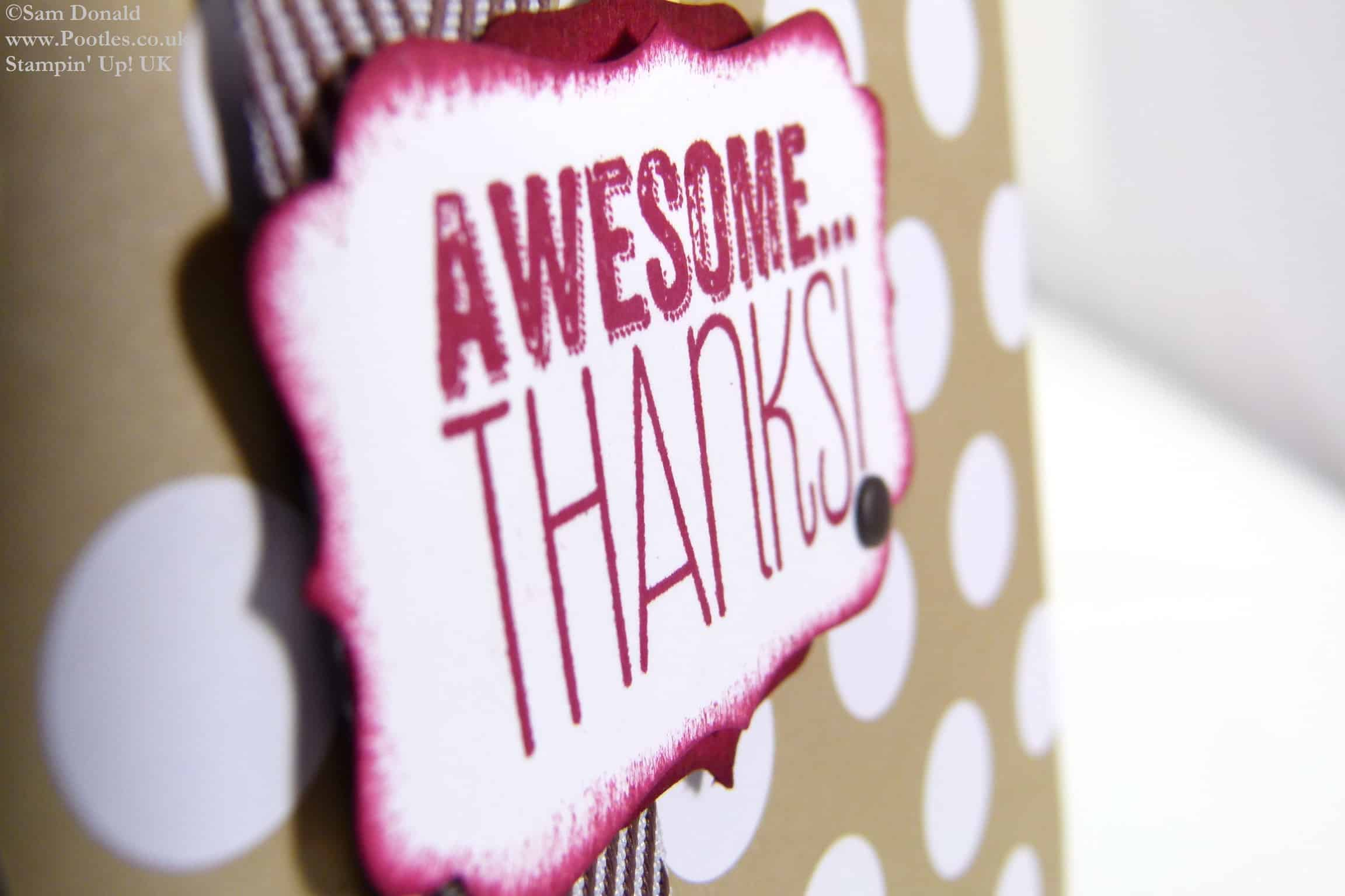 POOTLES Stampin Up UK Awesome Thanks Chocolate Crumb Card