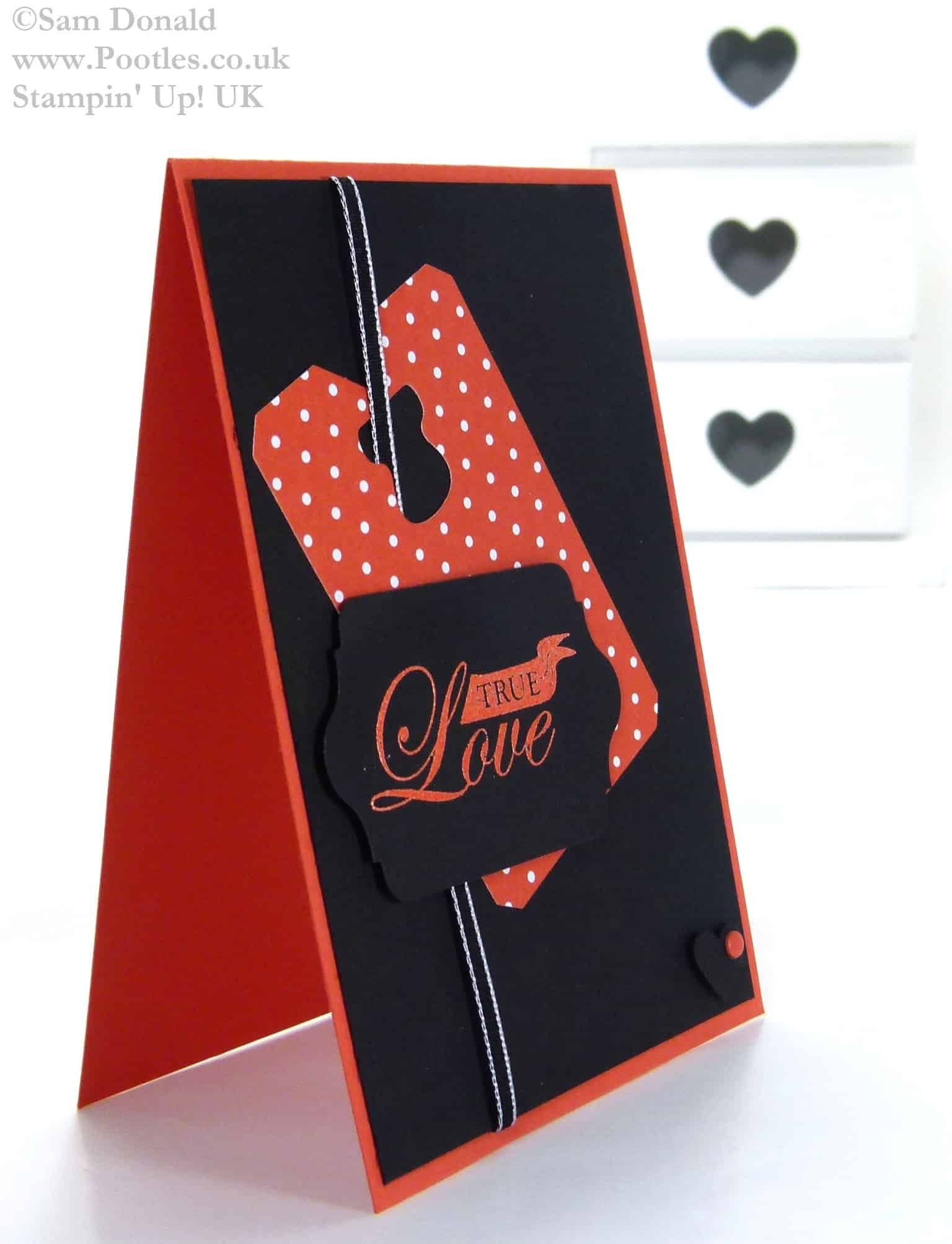 POOTLES Stampin Up UK Brights Week Manly Tangerine Tango Valentine Card 3