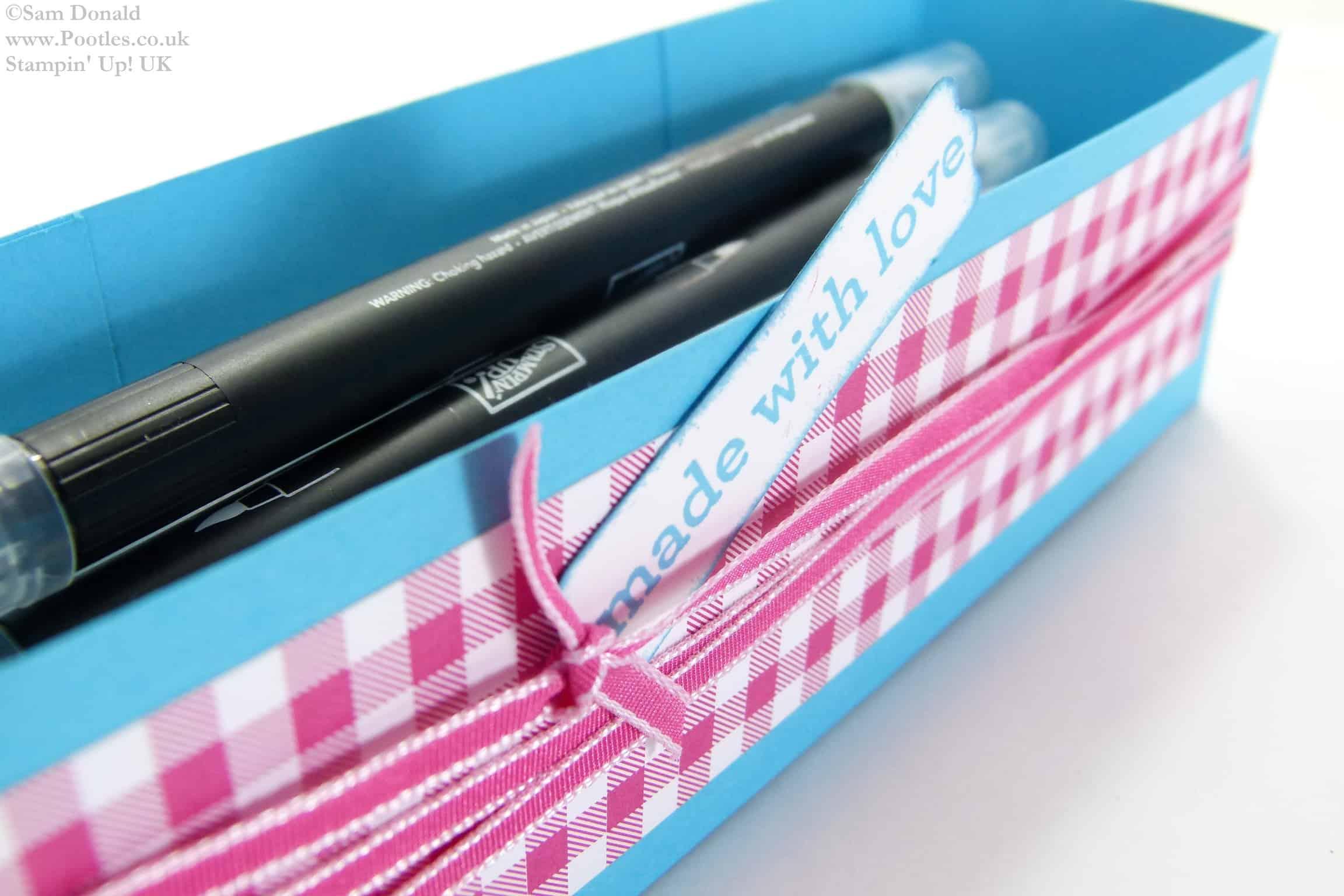 POOTLES Stampin Up UK Brights Week Pen Caddy Gift Box 2