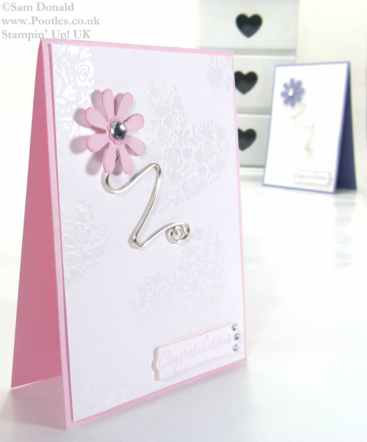 POOTLES Stampin Up UK Flowerfull Heart Wirework Congratulations Card 3