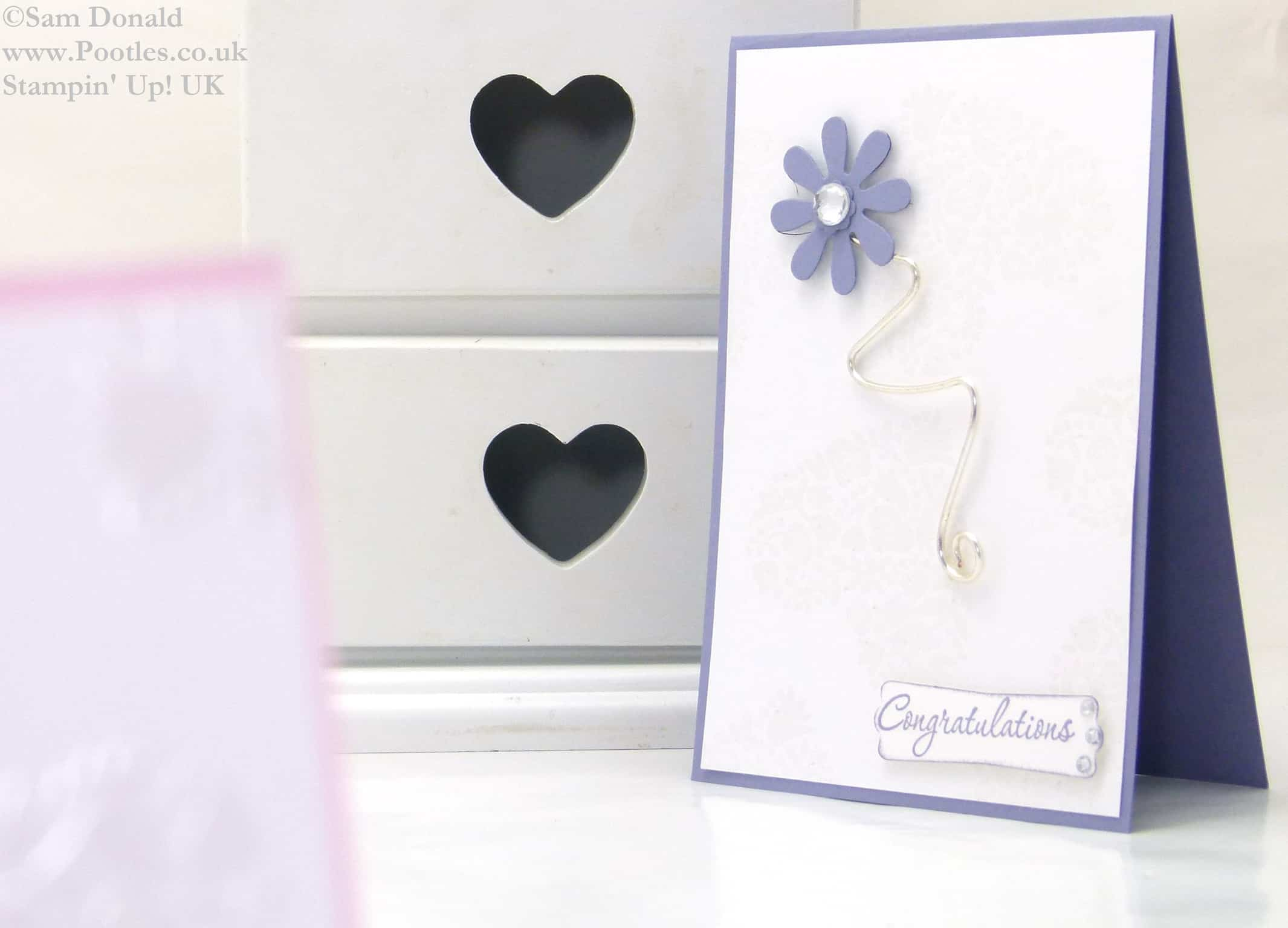 POOTLES Stampin Up UK Flowerfull Heart Wirework Congratulations Card