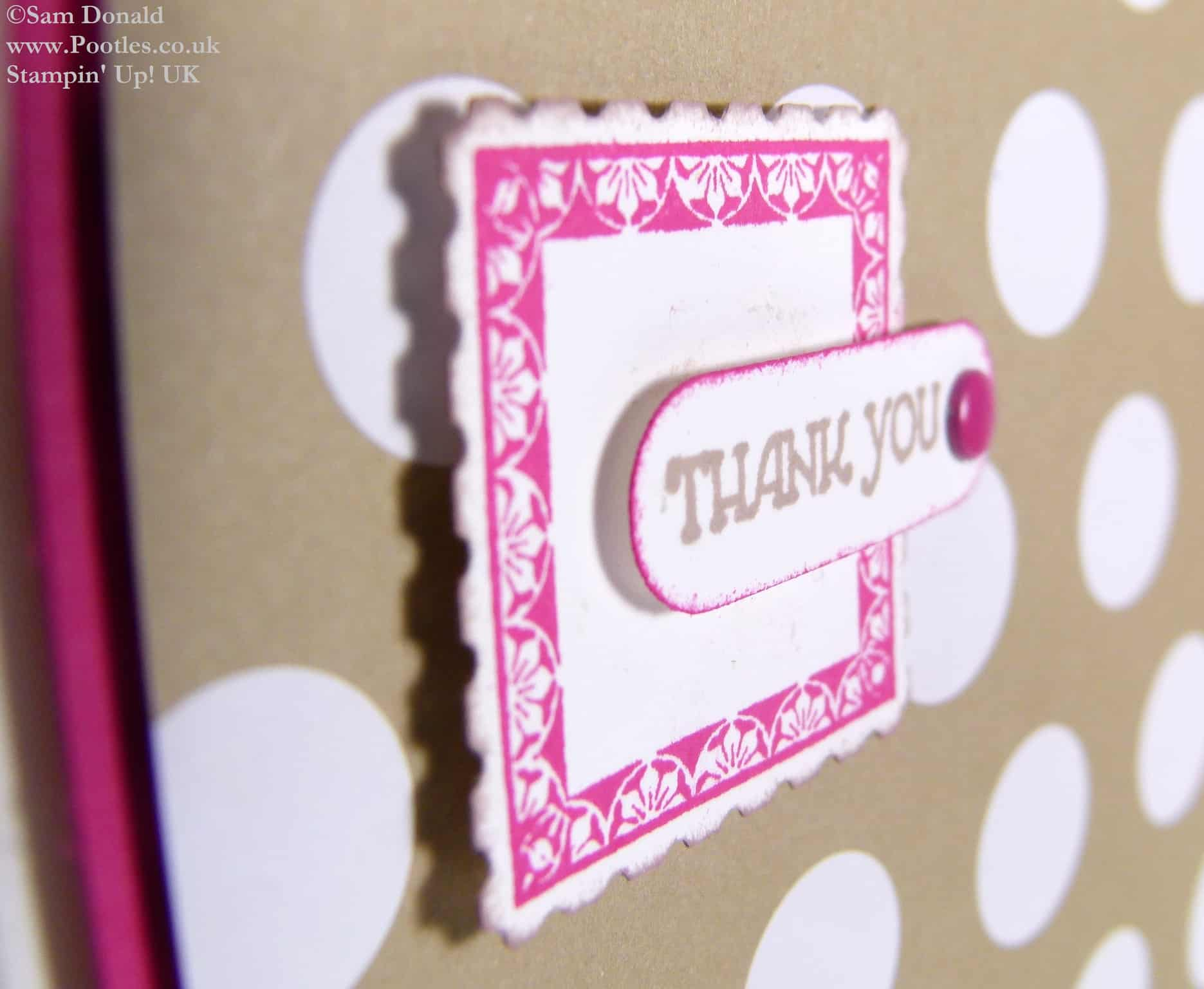 POOTLES Stampin Up UK Melon Mambo Postage Thank You Card