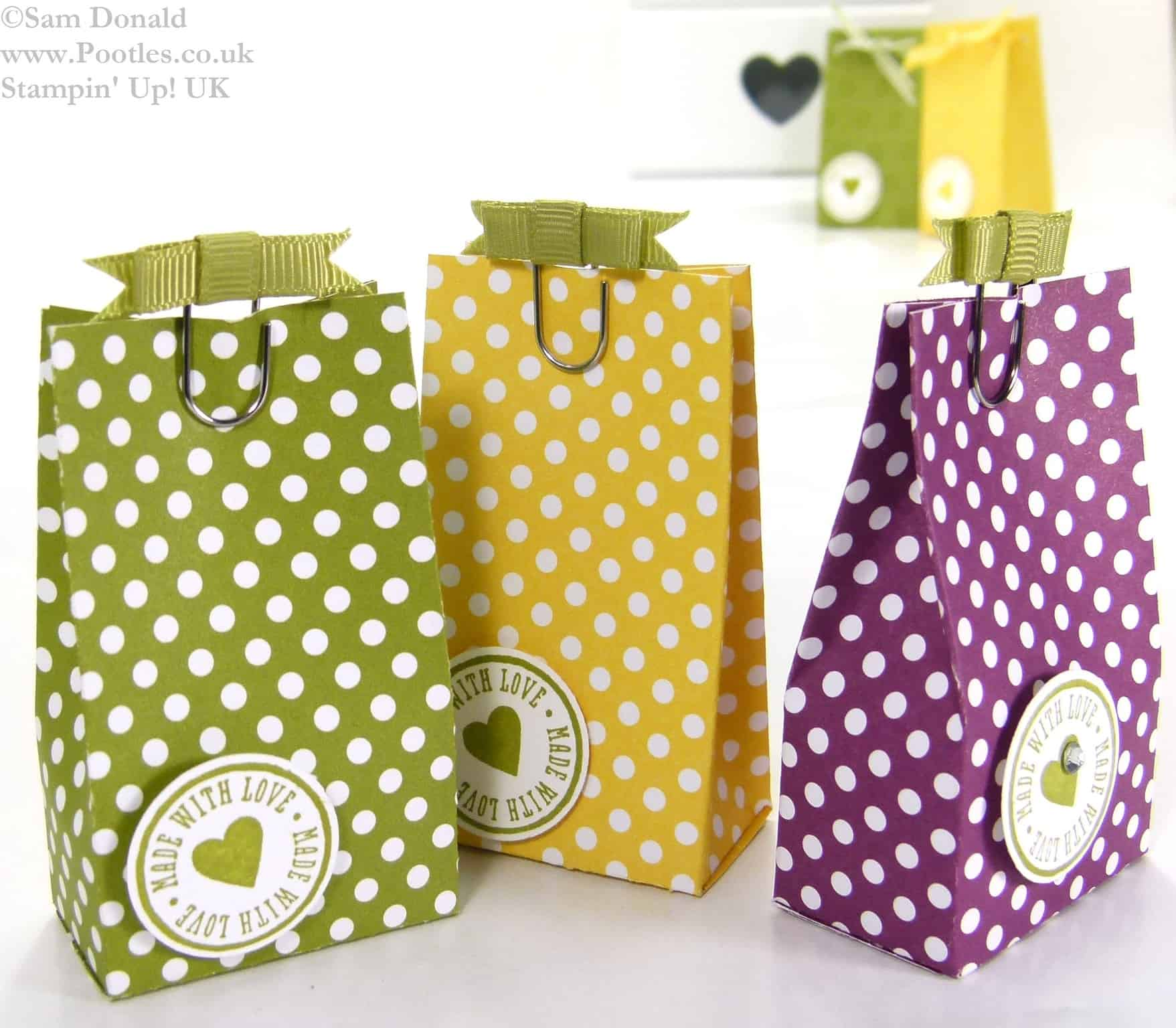 POOTLES Stampin Up UK Polka Dot Parade 6 bags from one sheet DSP 3
