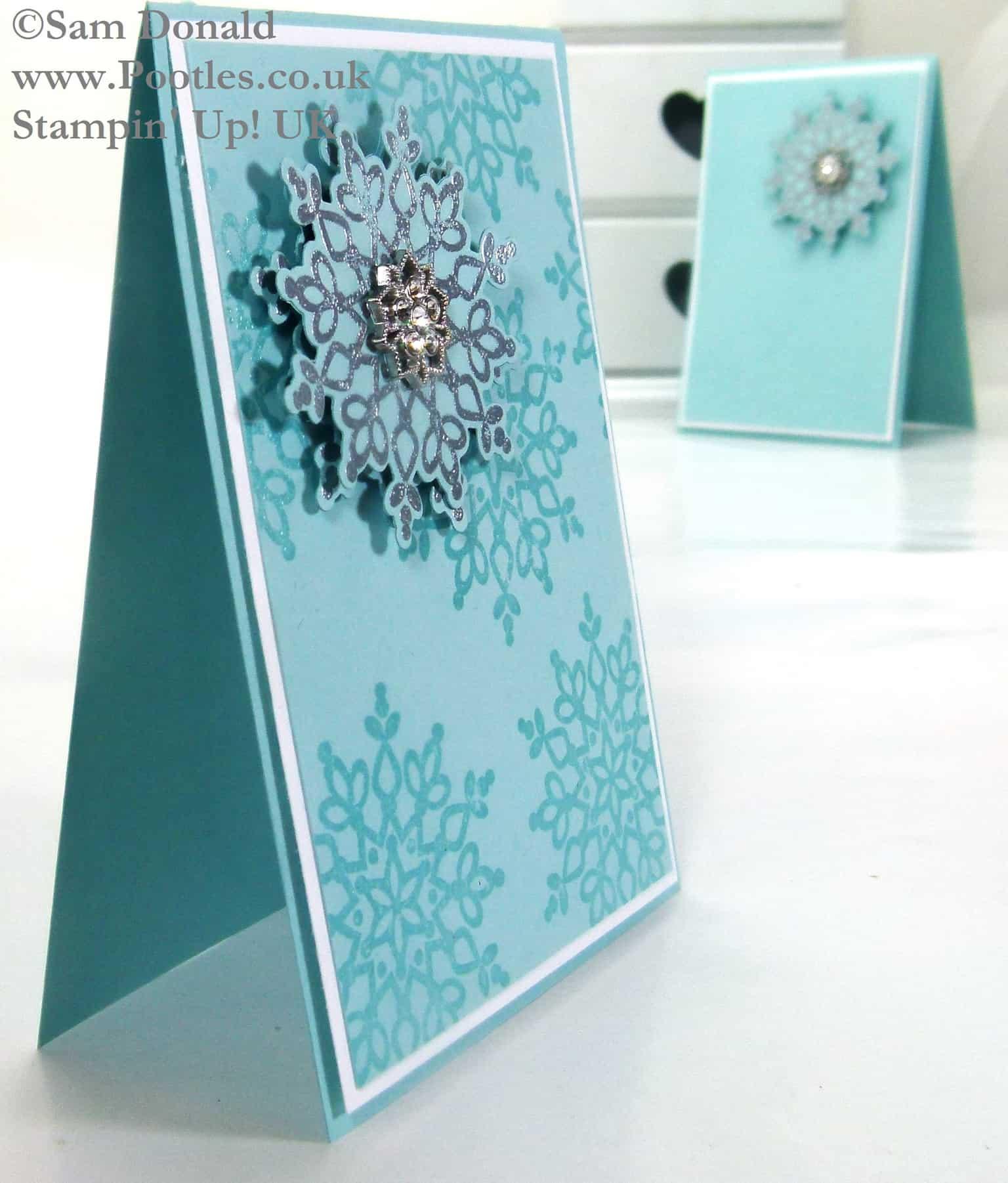 POOTLES Stampin Up UK Silver Embossed Festive Flurries 2