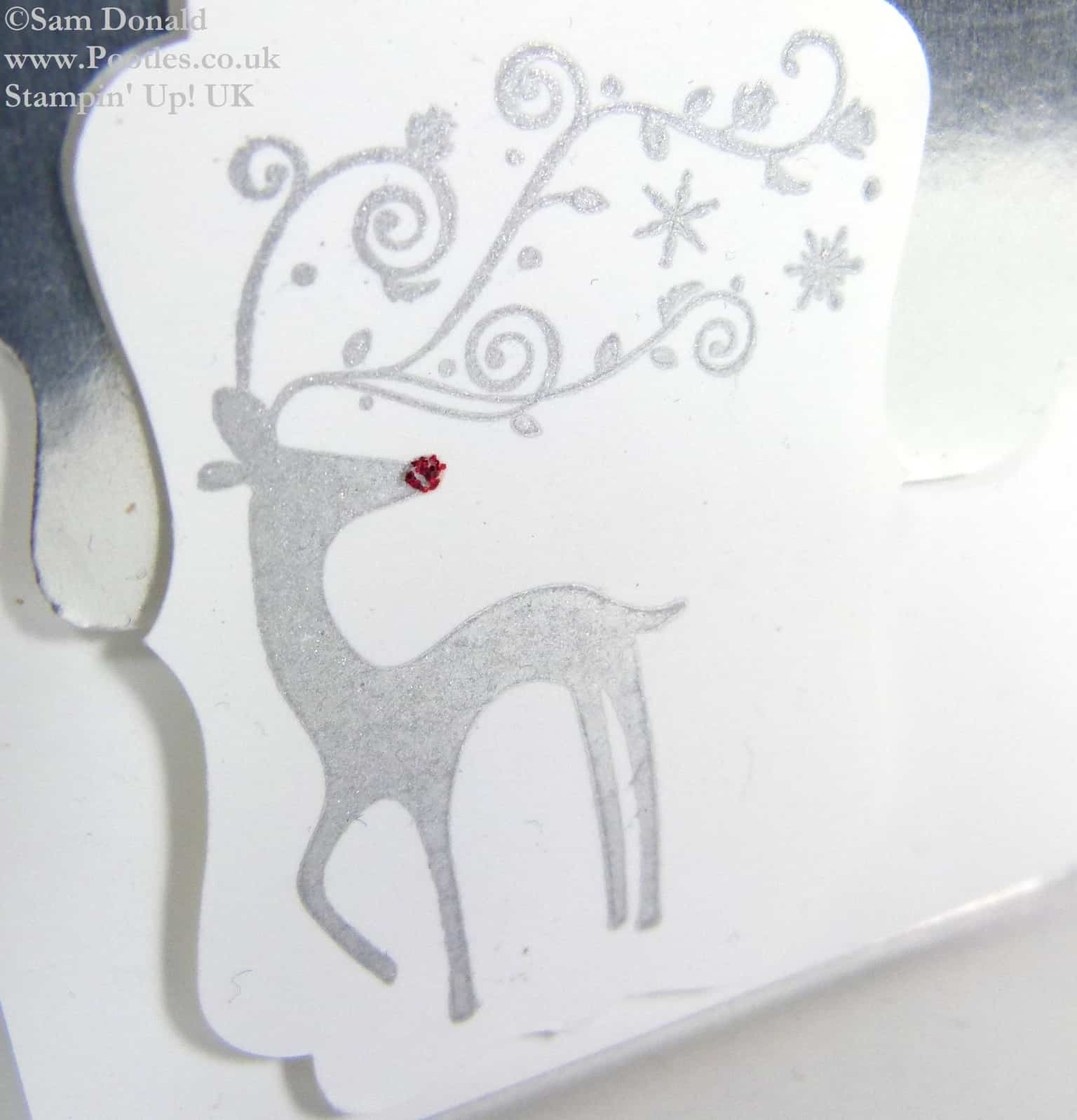 POOTLES Stampin Up UK Silver Foil Mini Christmas Card