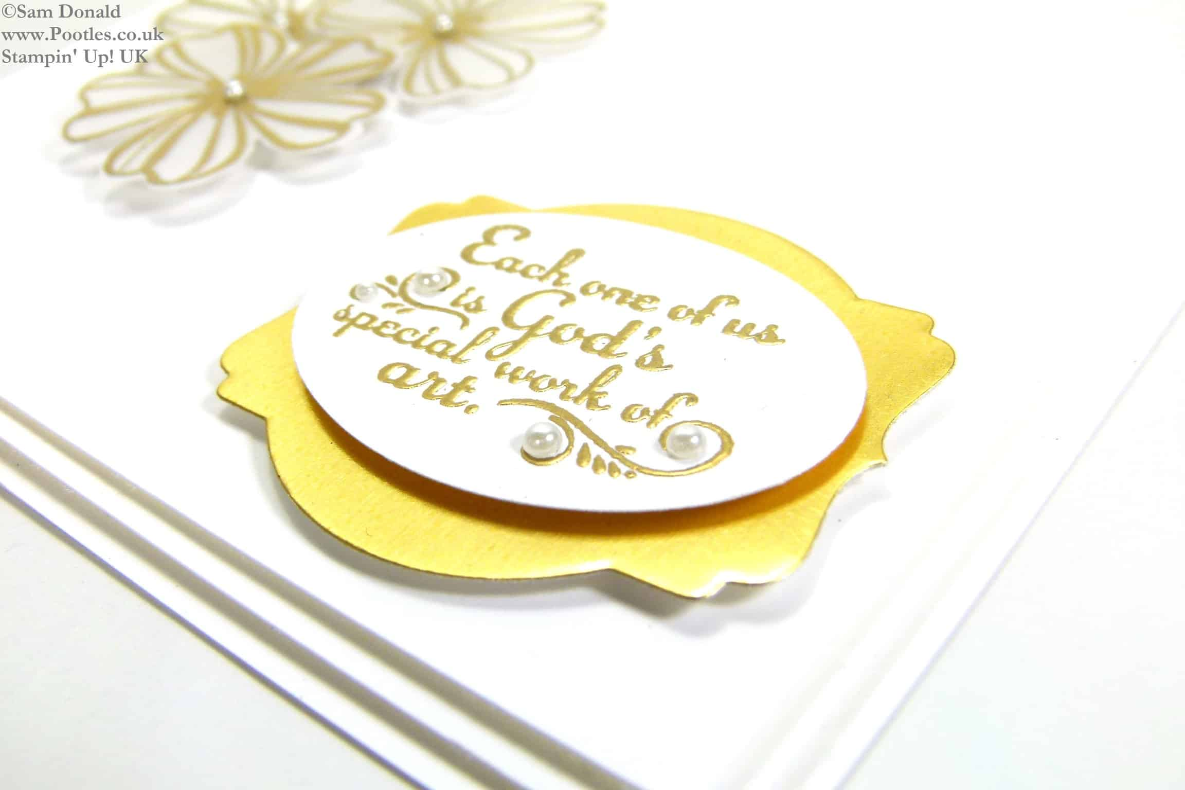 POOTLES Stampin Up UK Gold Heat Embossed Vellum Trust God