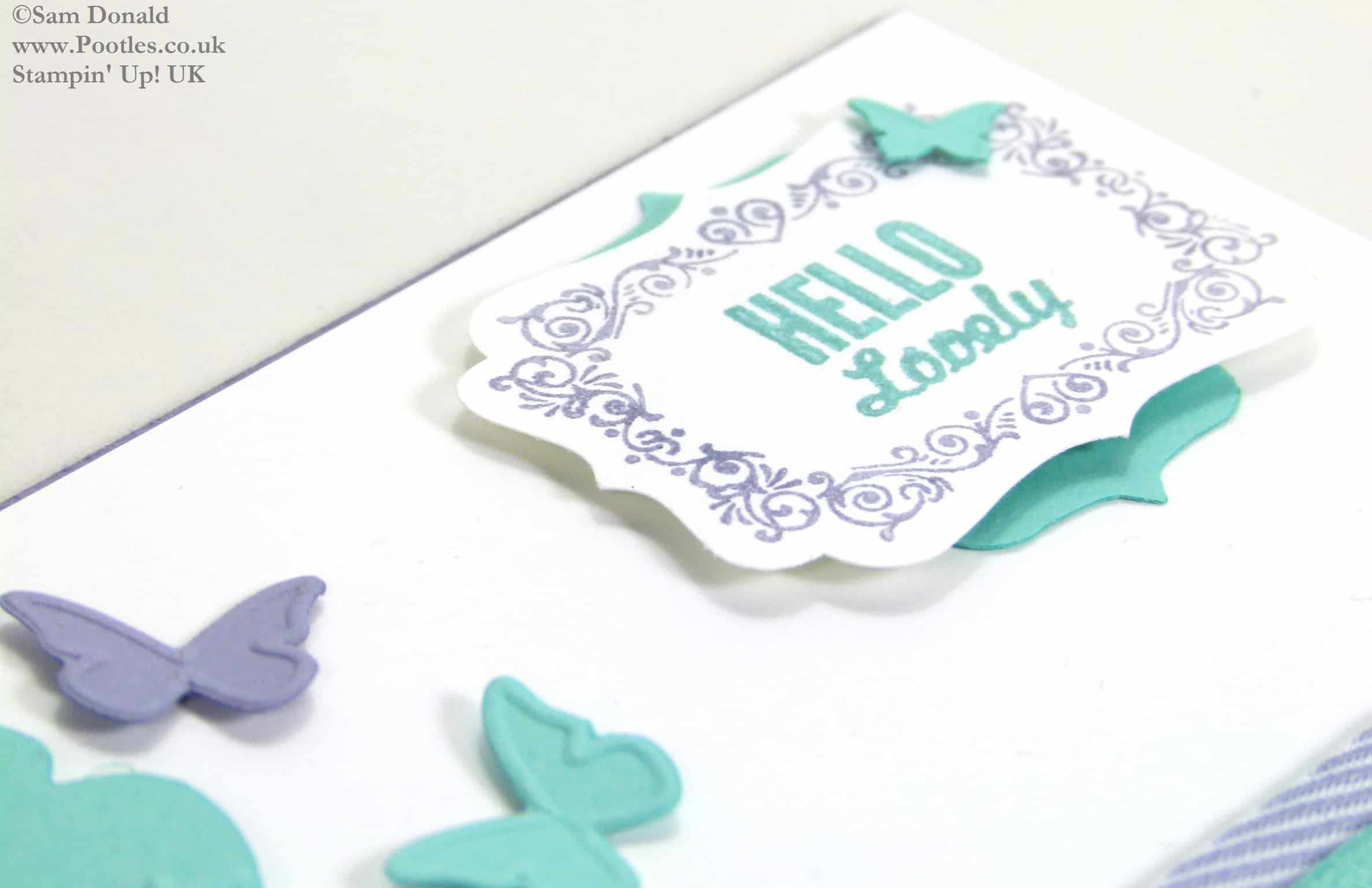 POOTLES Stampin Up UK Hello Lovely Embosslit Butterflies and Card Giveaway