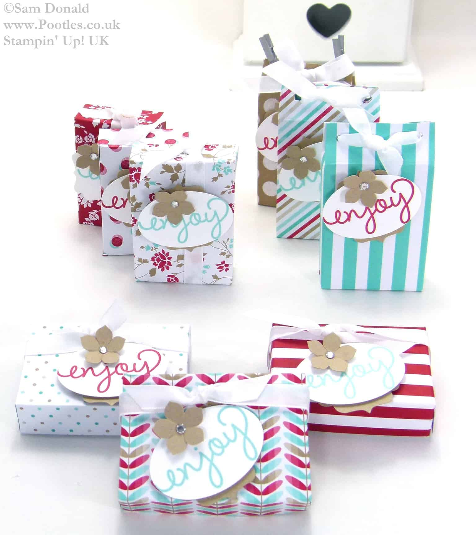 POOTLES Stampin Up UK SPRINGWATCH 1 Set of Measurements 3 Different Boxes