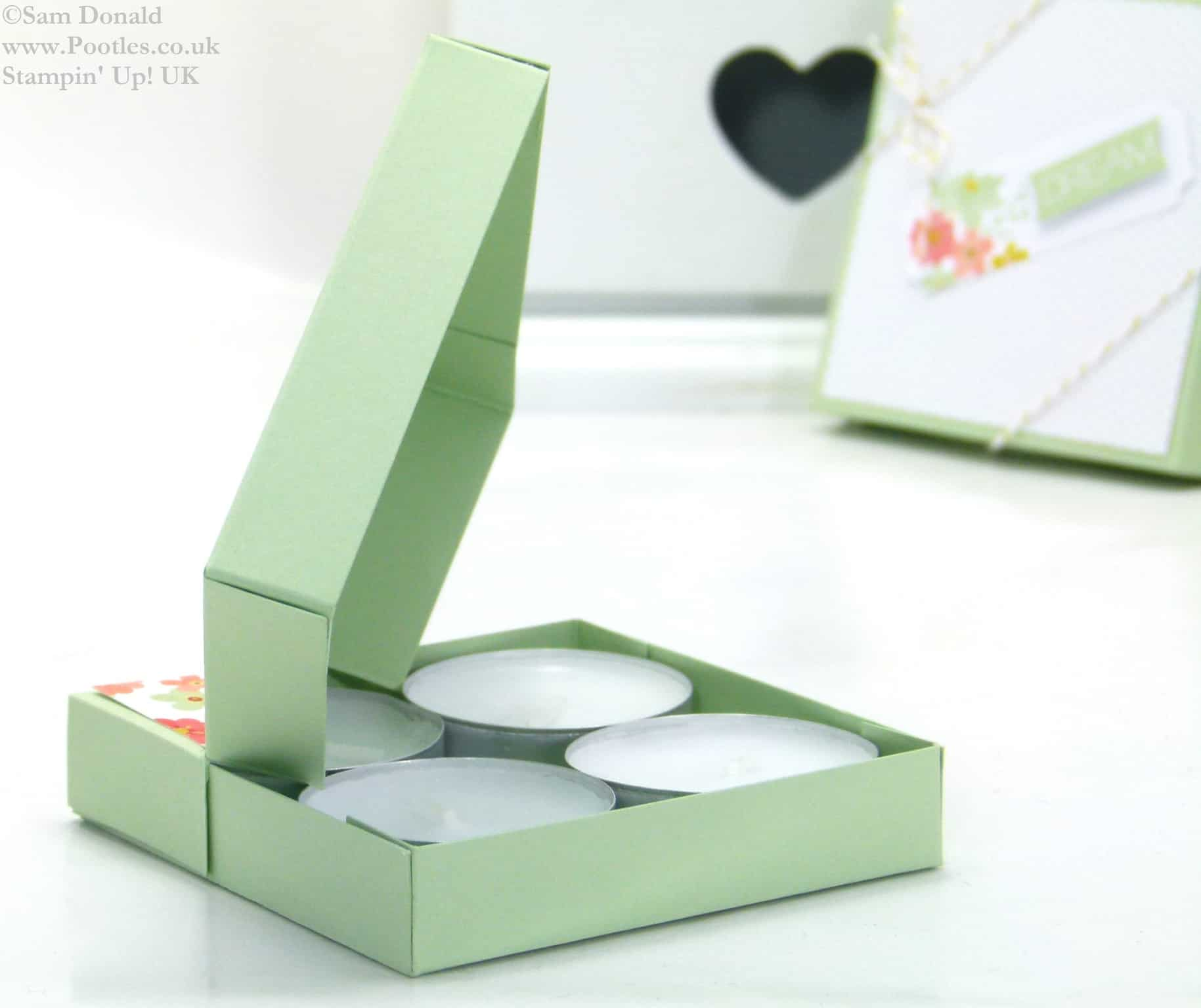 POOTLES Stampin Up UK SPRINGWATCH Diamond Opening Tea Light Box Tutorial