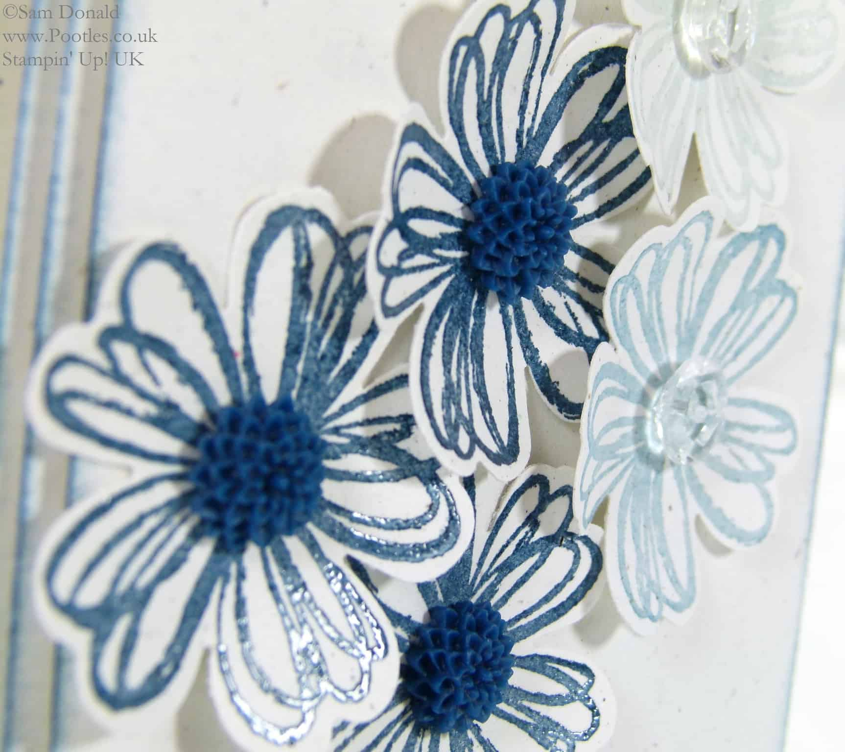 POOTLES Beautiful Blue Florals using Stampin' Up! UK Flower Shop Bundle flowers close up