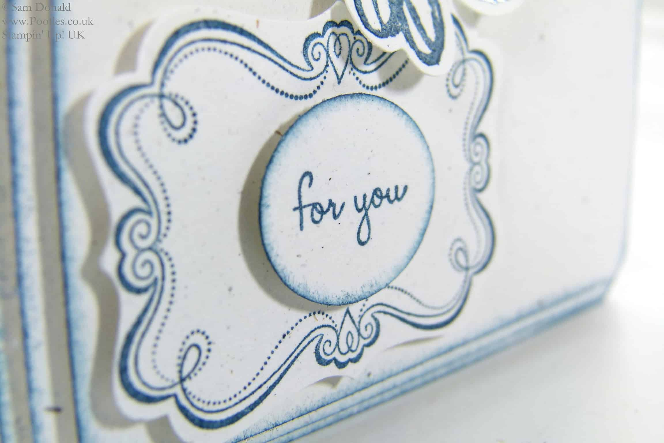 POOTLES Beautiful Blue Florals using Stampin' Up! UK Flower Shop Bundle sentiment detail