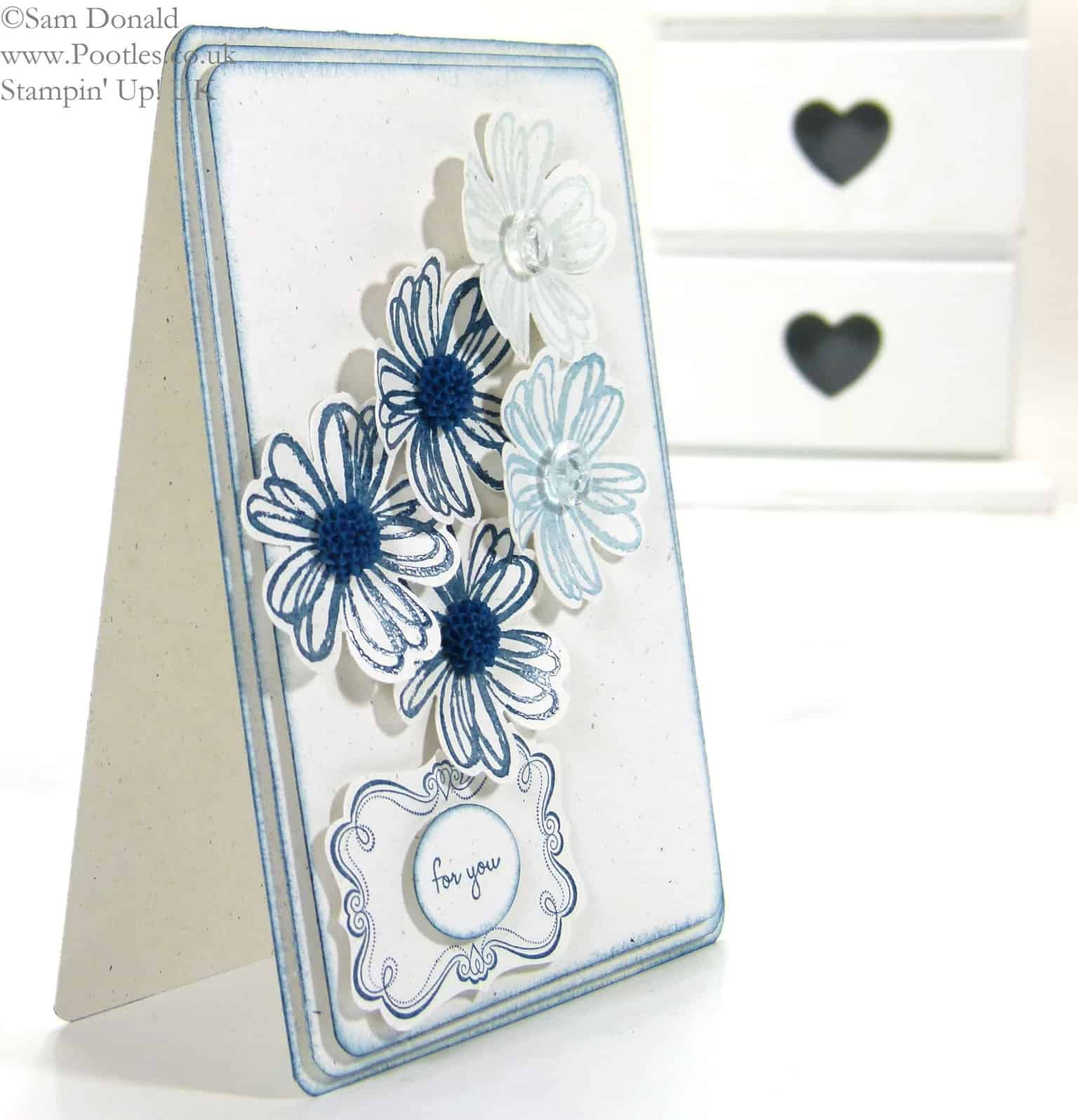 POOTLES Beautiful Blue Florals using Stampin' Up! UK Flower Shop Bundle