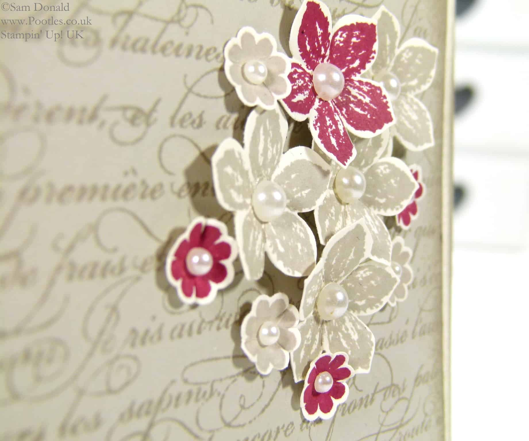 POOTLES Stampin' Up! UK En Francais meets Petite Petals close up