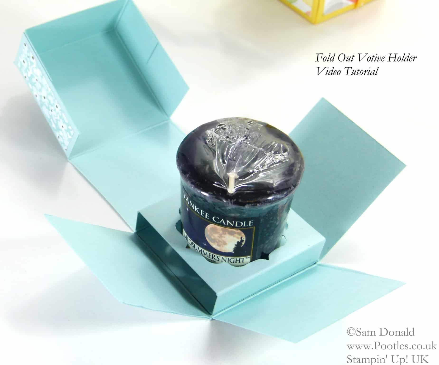 POOTLES Stampin' Up! UK Fold Out Votive Candle Holder Tutorial OPEN