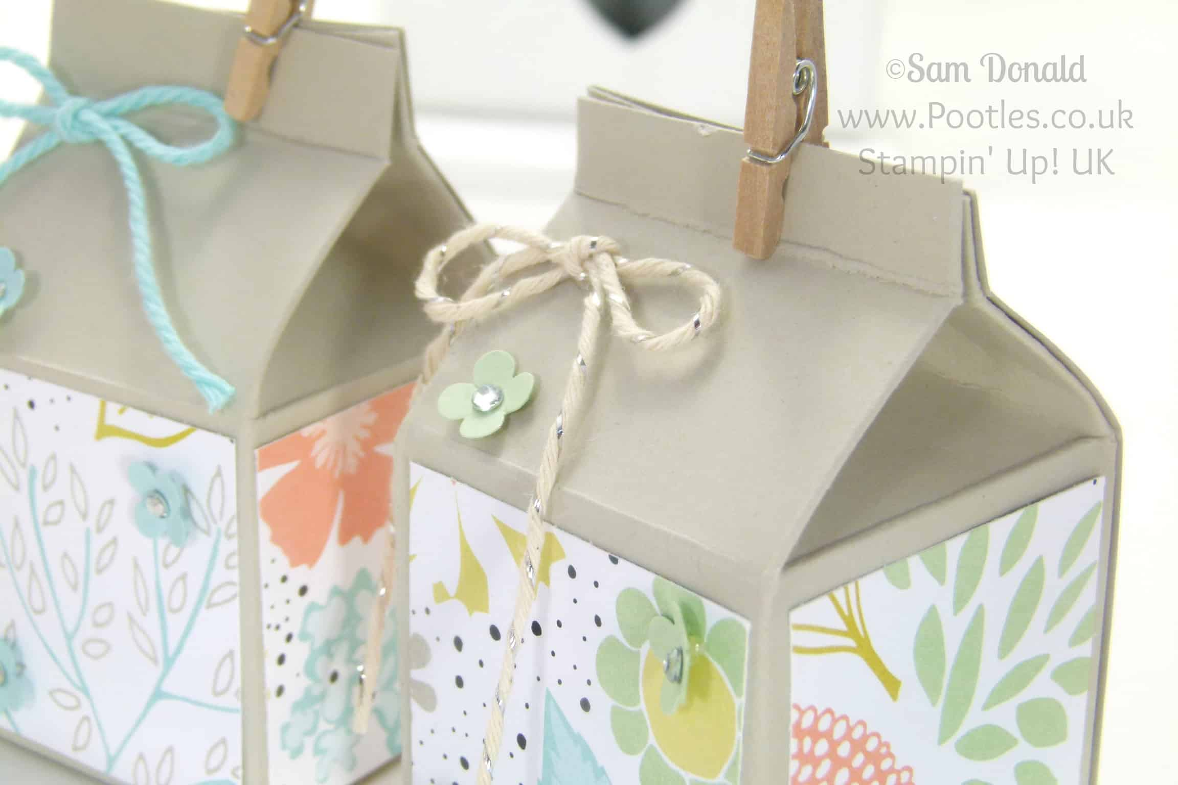 POOTLES Stampin' Up! UK Mini Hand Cut Milk Cartons Tutorial close up