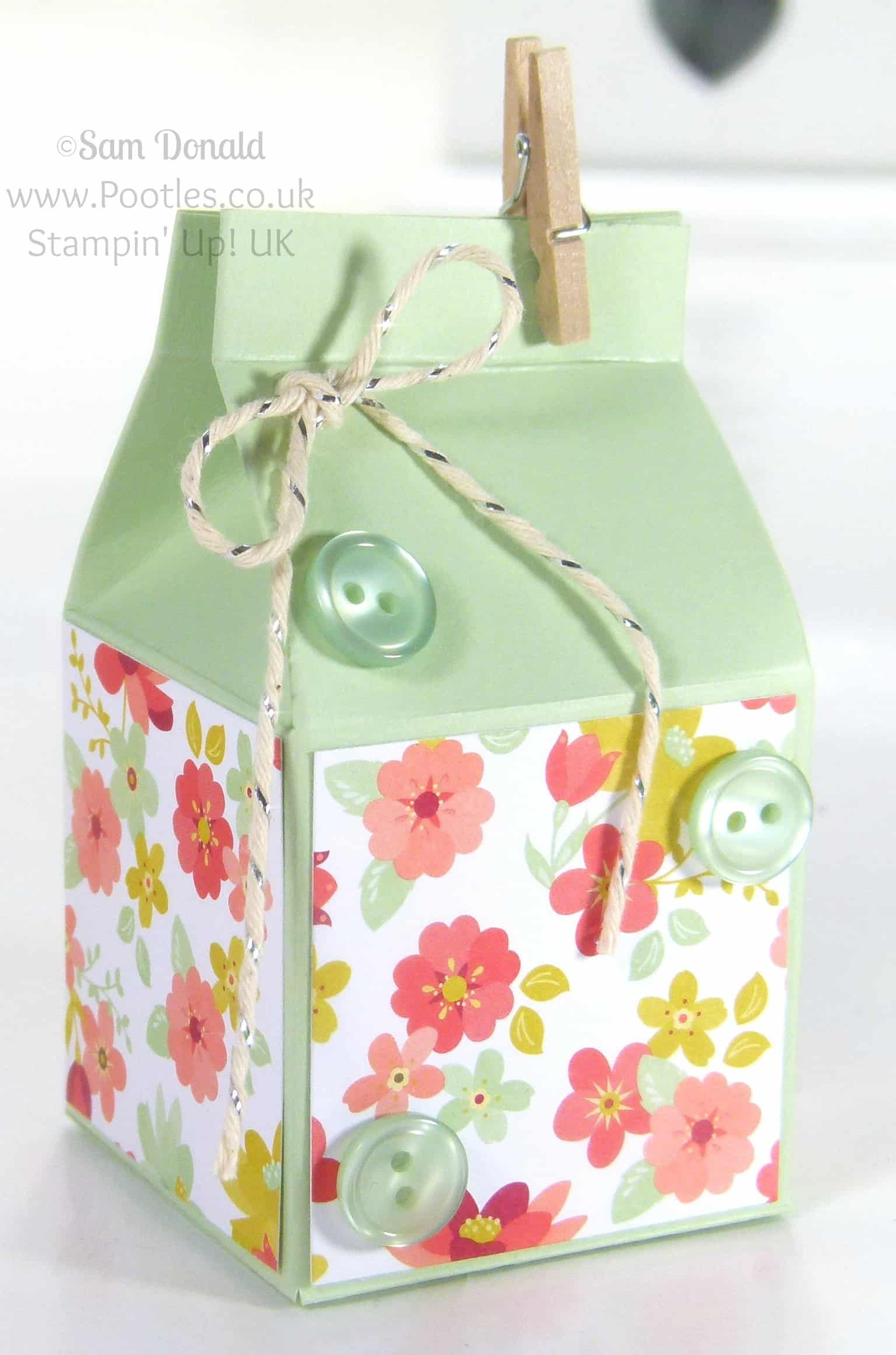POOTLES Stampin' Up! UK Mini Hand Cut Milk Cartons Tutorial Mini Album Alternative