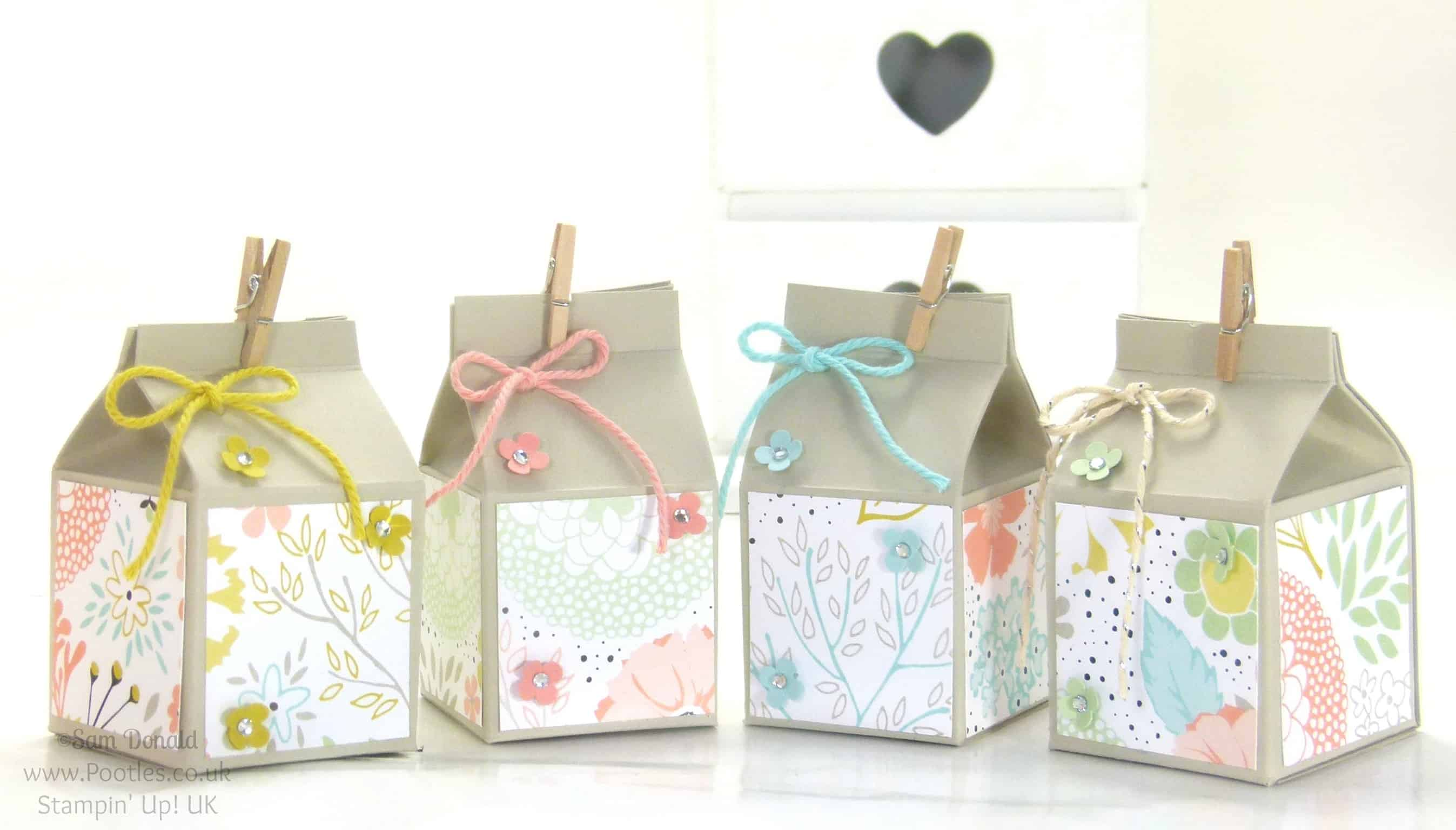 POOTLES Stampin' Up! UK Mini Hand Cut Milk Cartons Tutorial