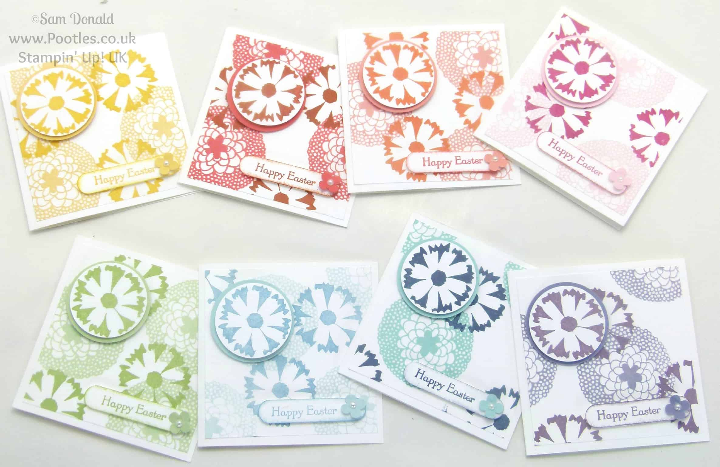 POOTLES Stampin' Up! UK Petal Parade 3x3 Easter Card Showcase Full Collection