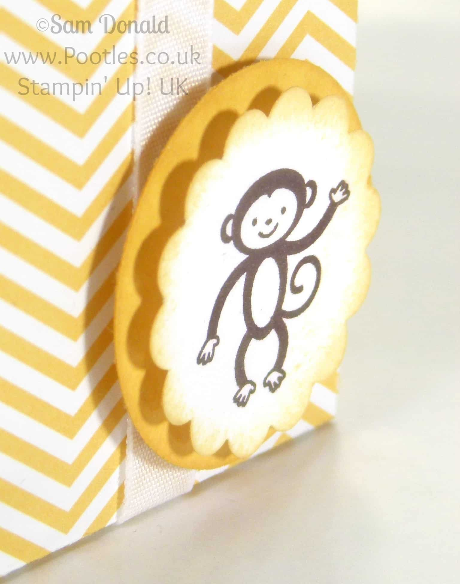 POOTLES Stampin' Up! UK Tag Topper Baby Bag Tutorial close up