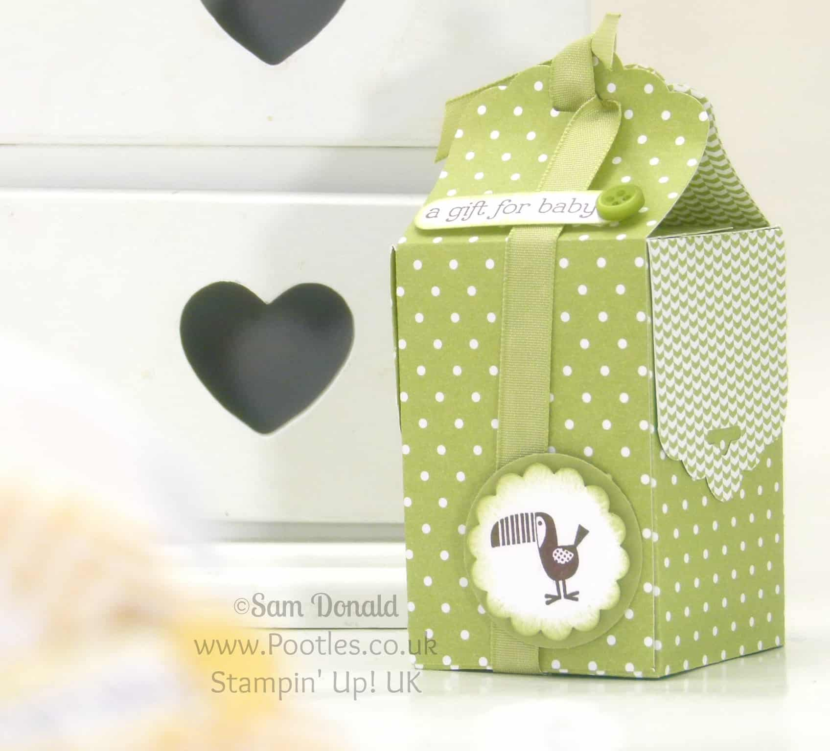 POOTLES Stampin' Up! UK Tag Topper Baby Bag Tutorial Pear Pizzazz
