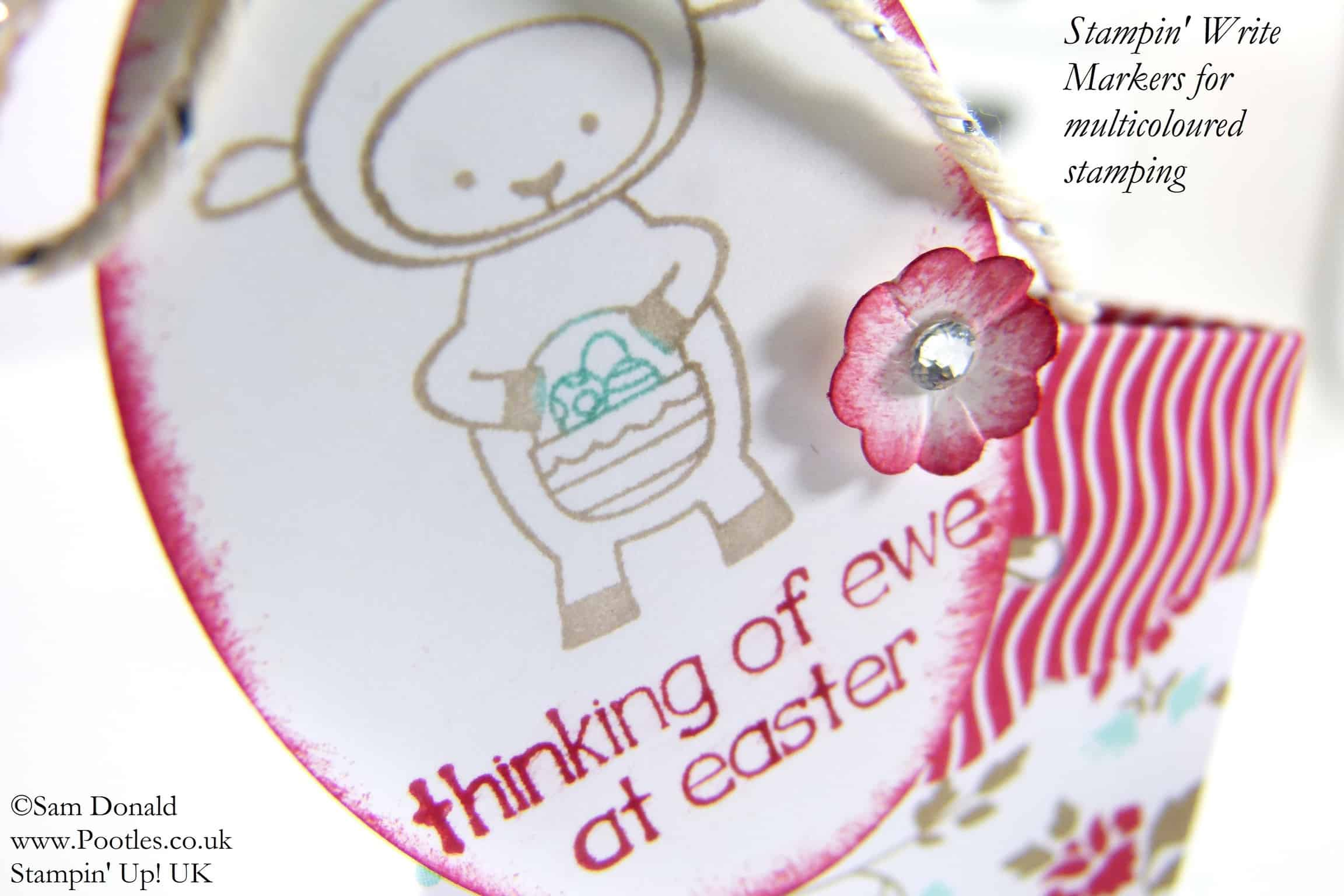 POOTLES Stampin' Up! UK Tag Topper Tri Sided Easter Egg Caddy close up