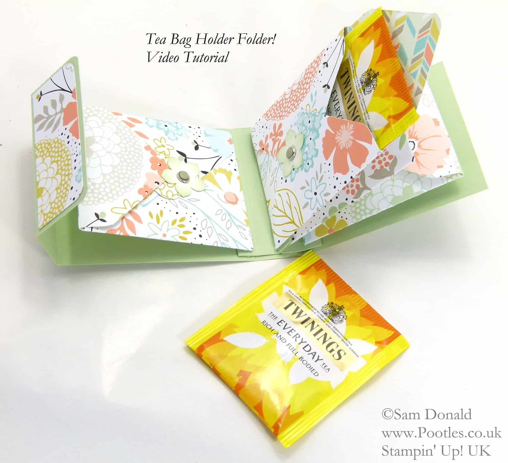 POOTLES Stampin' Up! UK Tea Bag Holder Folder Tutorial opened flat