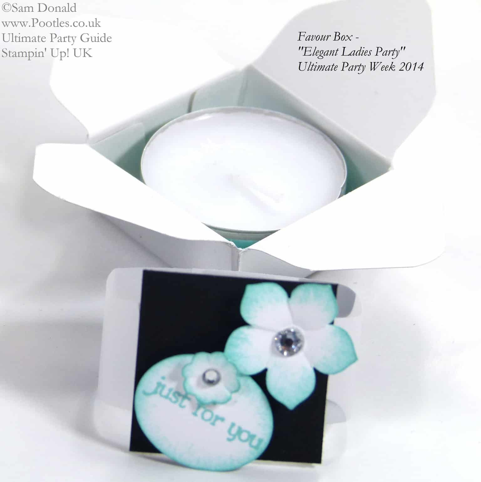 POOTLES Stampin Up UK Ultimate Party Week.  Favour Box open. ELEGANT LADIES THEME