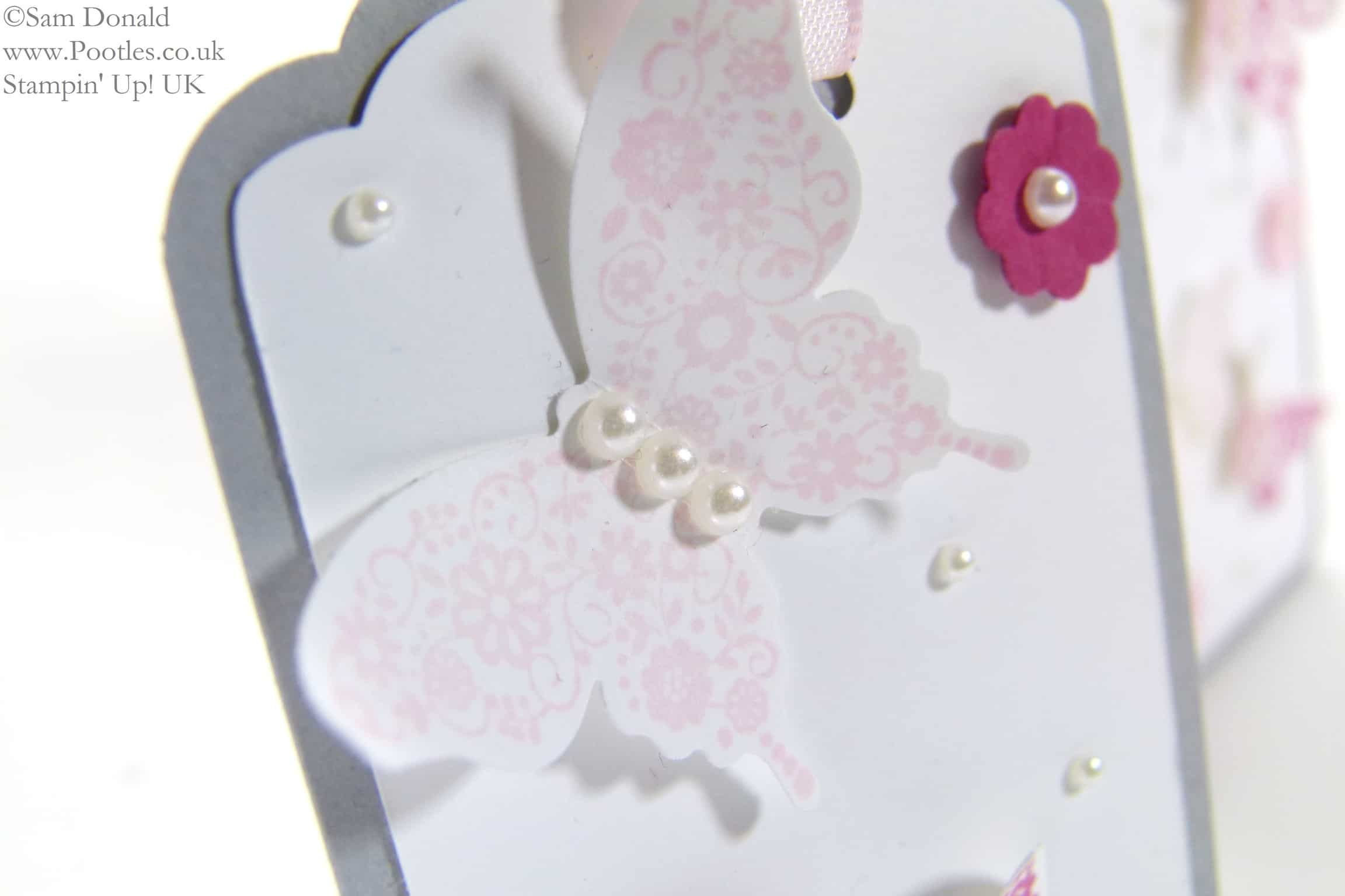 POOTLES Papillon Pot Pourri Gift Tags using Stampin' Up! Scalloped Tag Topper Punch butterfly detail