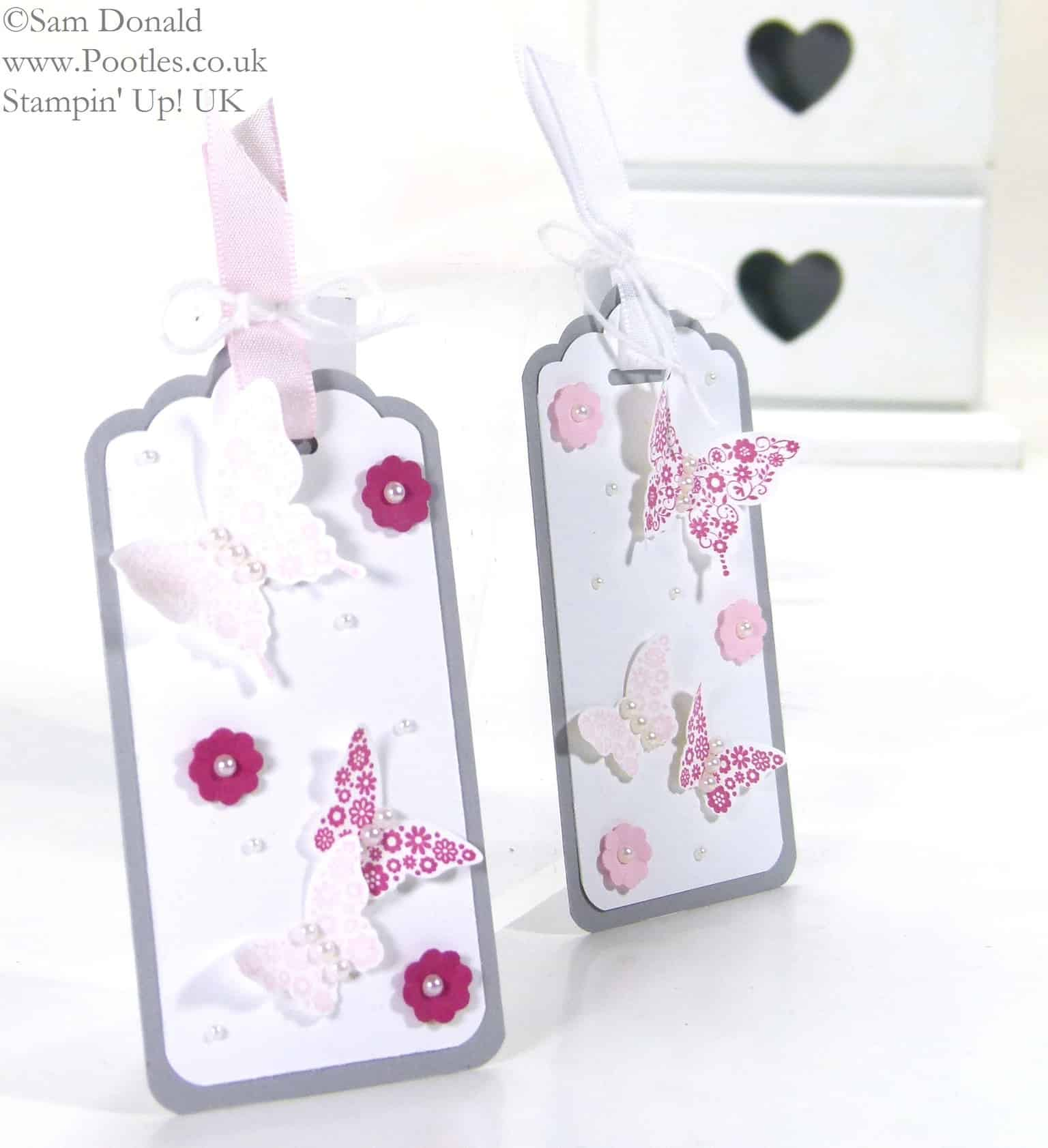 POOTLES Papillon Pot Pourri Gift Tags using Stampin' Up! Scalloped Tag Topper Punch