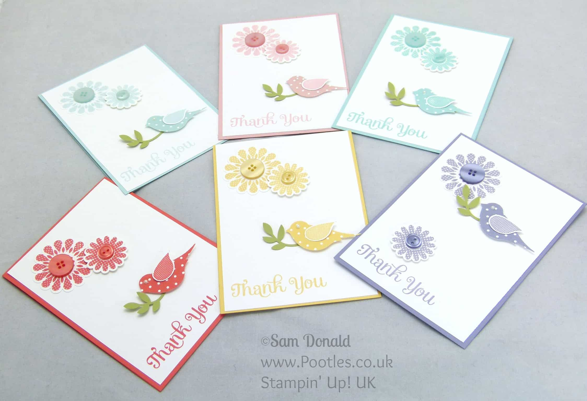 POOTLES Stampin' Up! UK Polka Dot Pieces Thank You Cards Collection