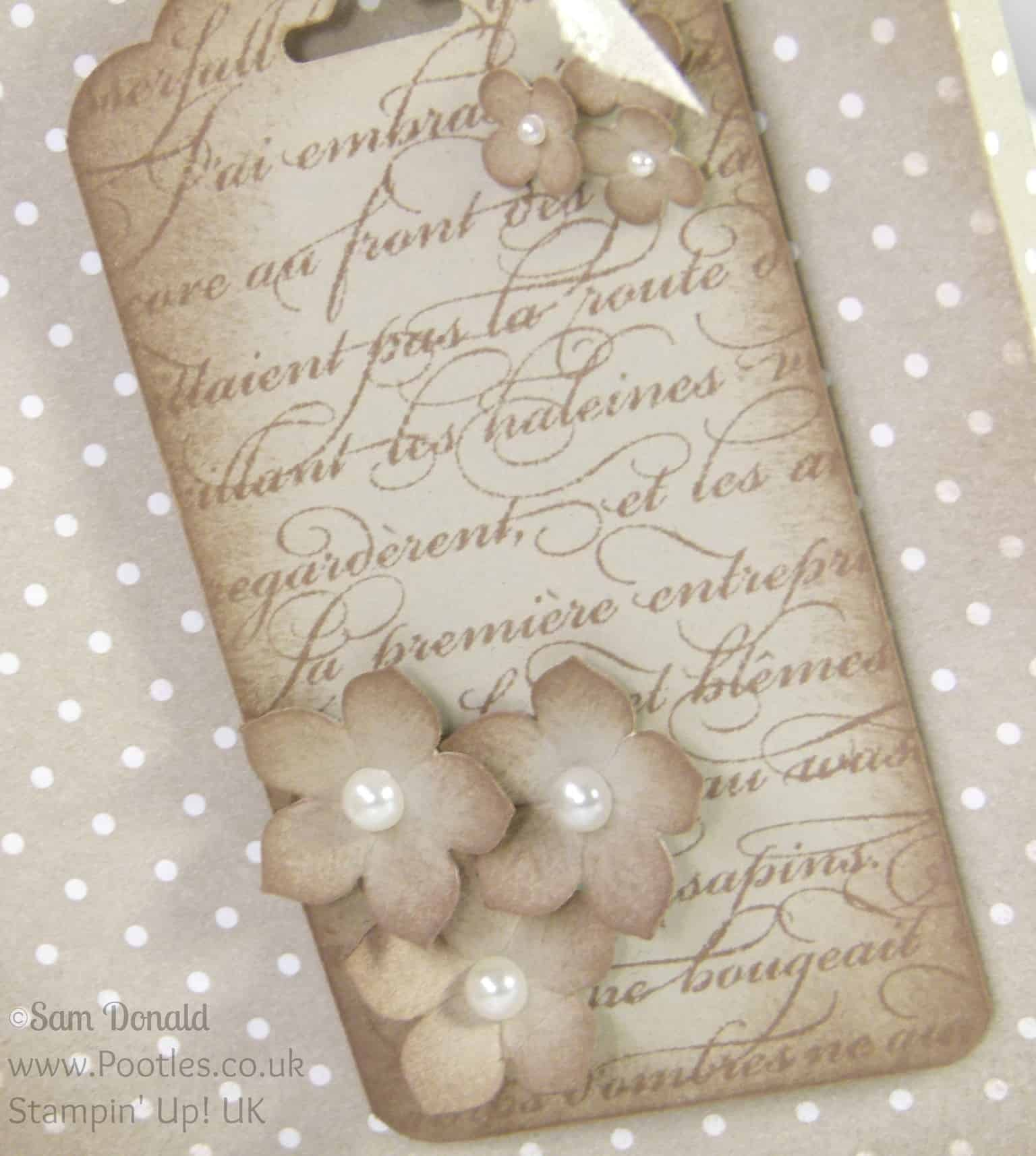 Stampin' Up! UK Independent Demonstrator Pootles. Aged Paper Bag Tutorial using Stampin' Up Designer Series Paper Tag Detail