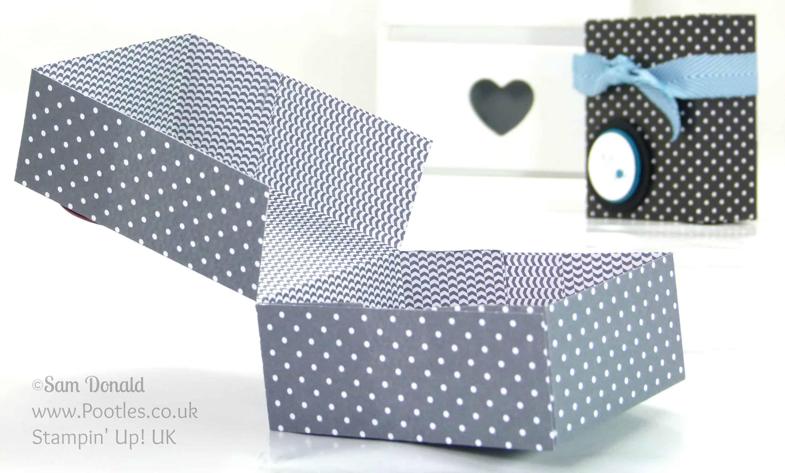 Stampin' Up! UK Independent Demonstrator Pootles. Paper Box Tutorial using Stampin' Up Designer Paper Open