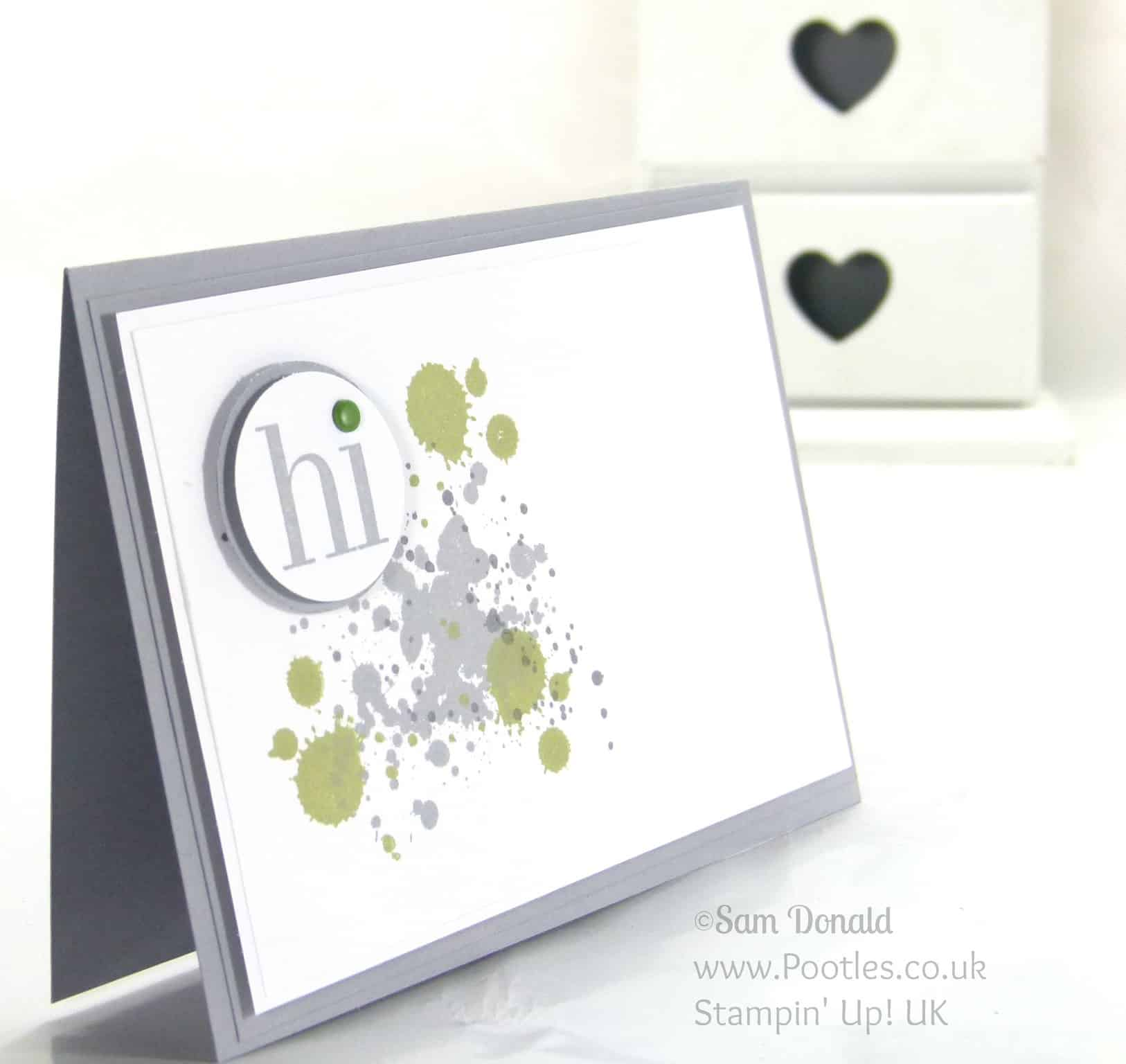 Stampin' Up! UK Independent Demonstrator Pootles. Pear Pizzazz and Gorgeous Grunge. Never be afraid of the white space....