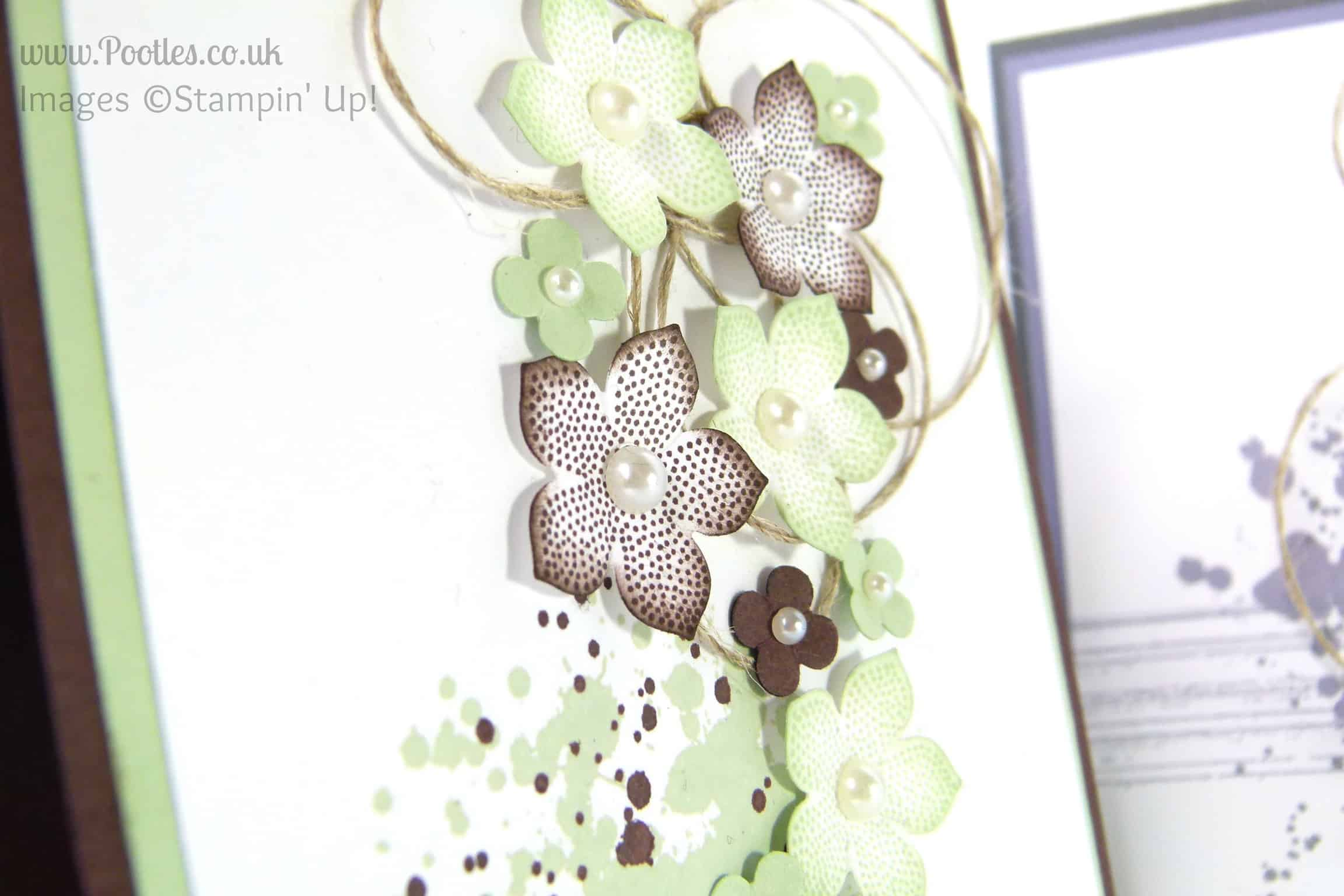 Petite Petals Card with Twisted Linen Thread from Stampin' Up! UK Pistachio Pudding Close Up