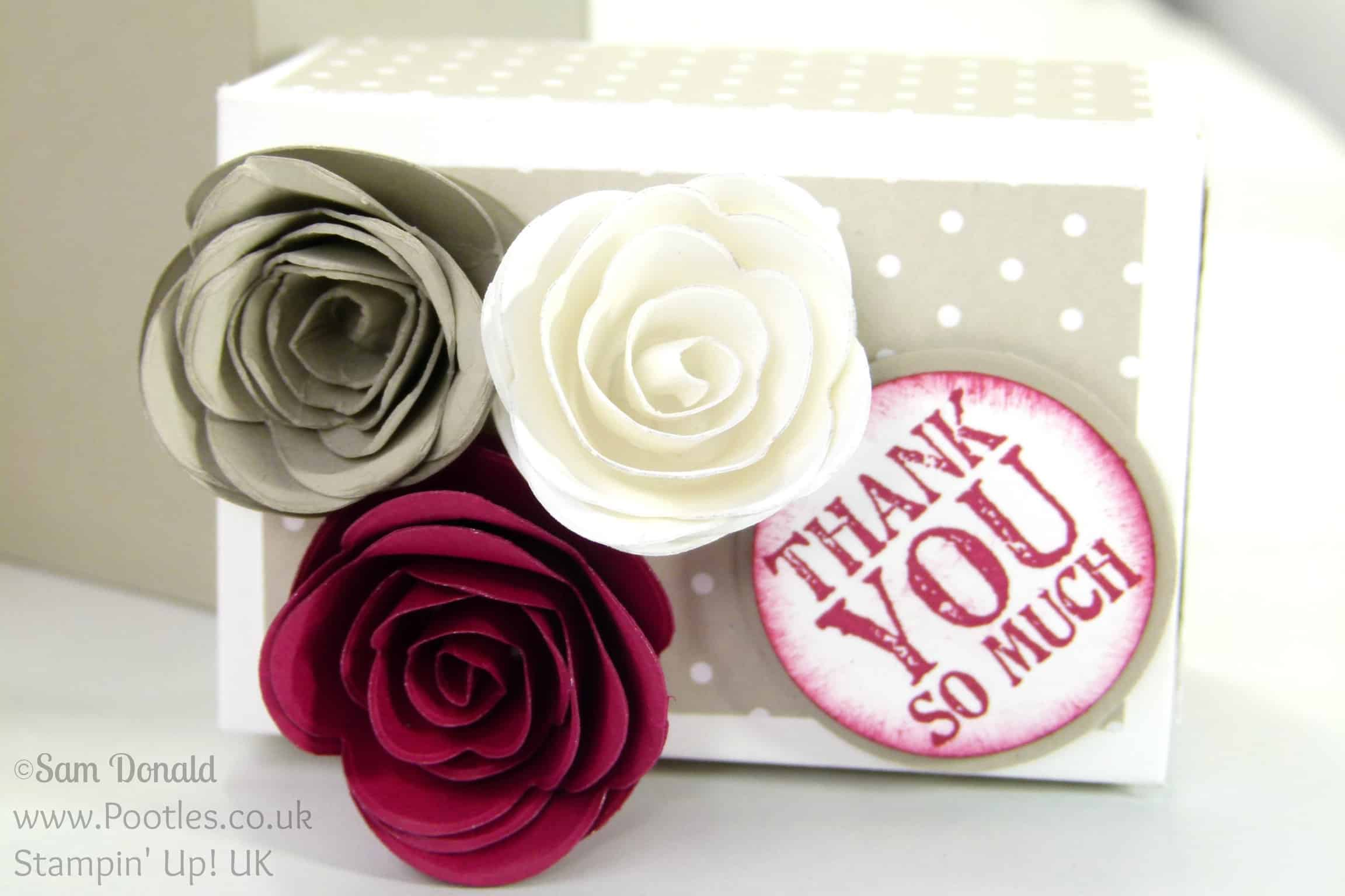 Stampin' Up! UK Demonstrator - Pootles. Rectangular Lidded Box Tutorial with Roses using Stampin' Up! Spiral Flower Die Close Up