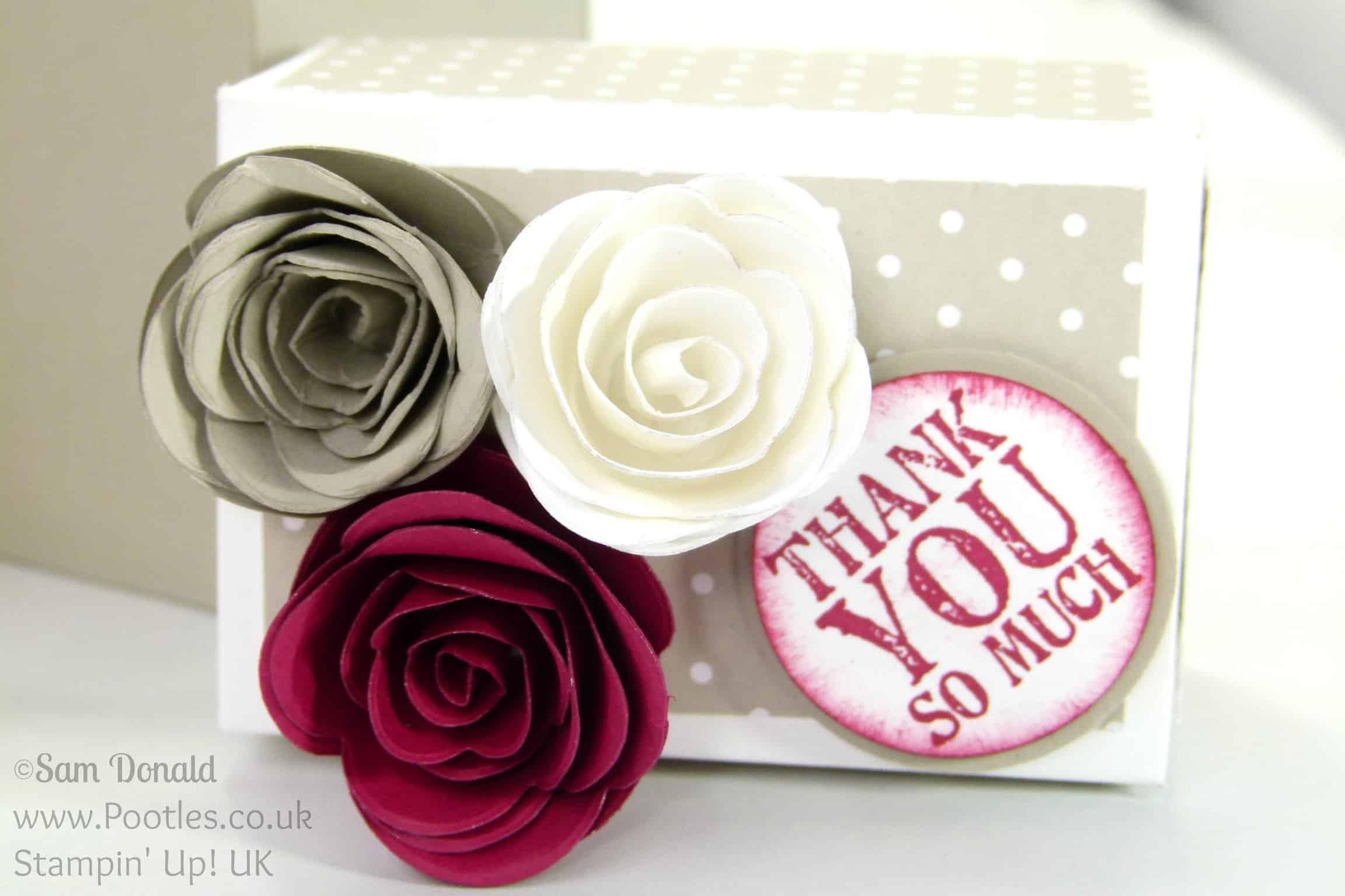 Stampin' Up! UK Demonstrator - Pootles. Rectangular Lidded Box Tutorial with Roses using Stampin' Up! Spiral Flower Die Close Up