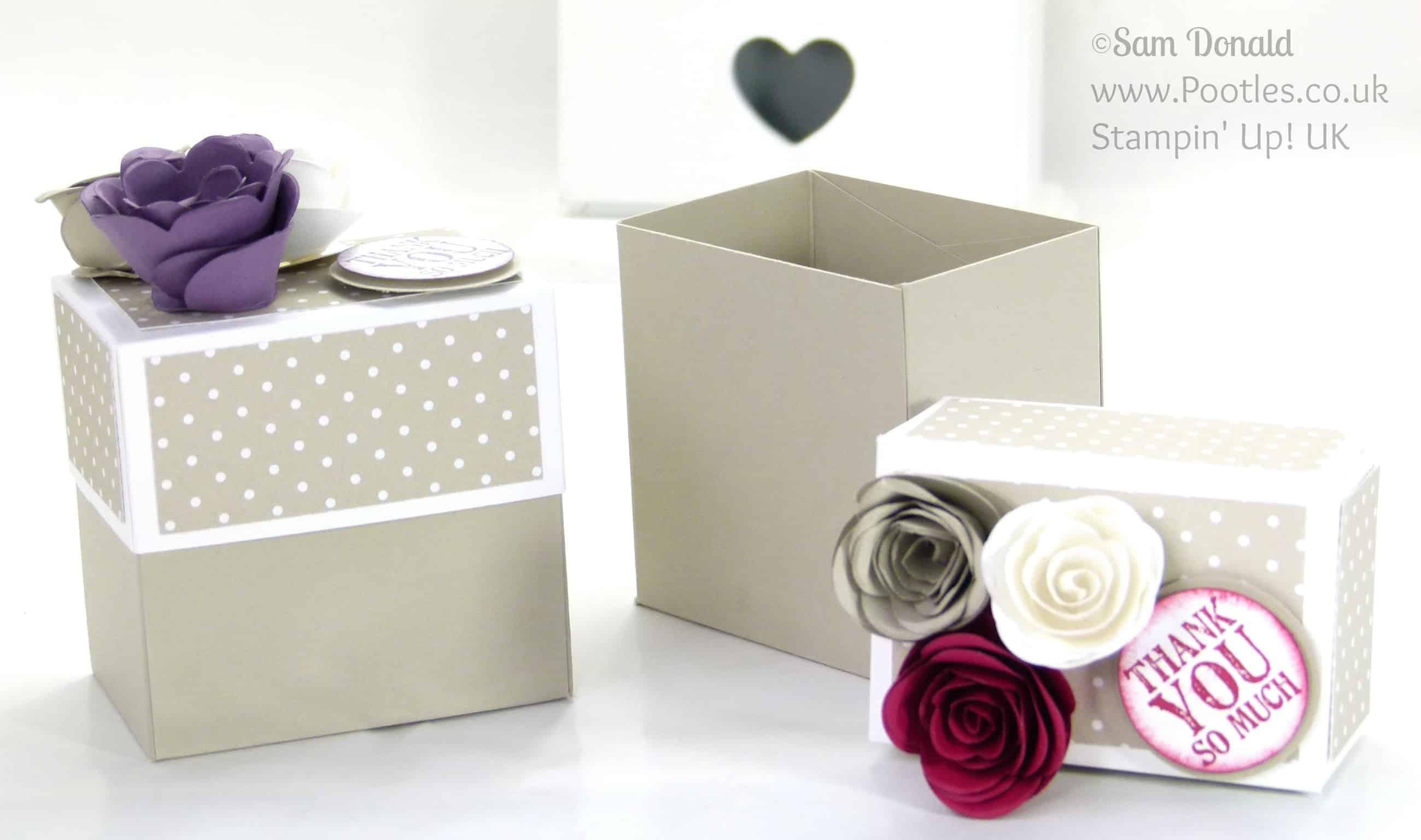 Stampin' Up! UK Demonstrator - Pootles. Rectangular Lidded Box Tutorial with Roses using Stampin' Up! Spiral Flower Die