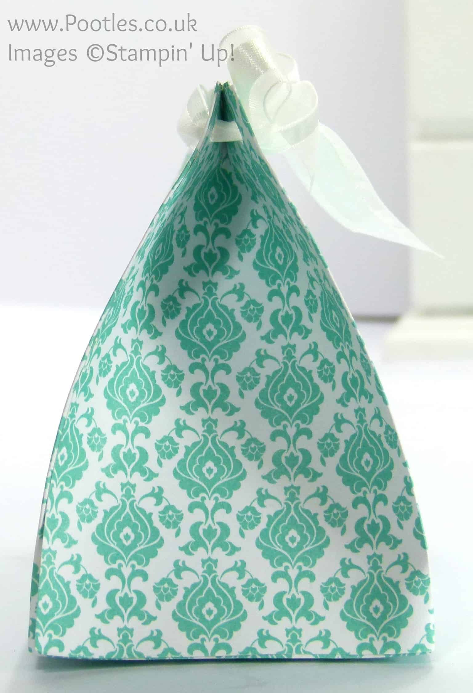 Stampin' Up! UK Demonstrator Pootles - Wide Fat Bag using Stampin' Up! UK Eastern Elegance DSP Side Profile