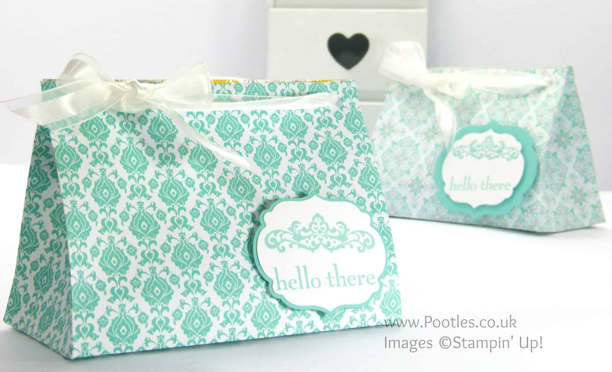 Stampin' Up! UK Demonstrator Pootles - Wide Fat Bag using Stampin' Up! UK Eastern Elegance DSP