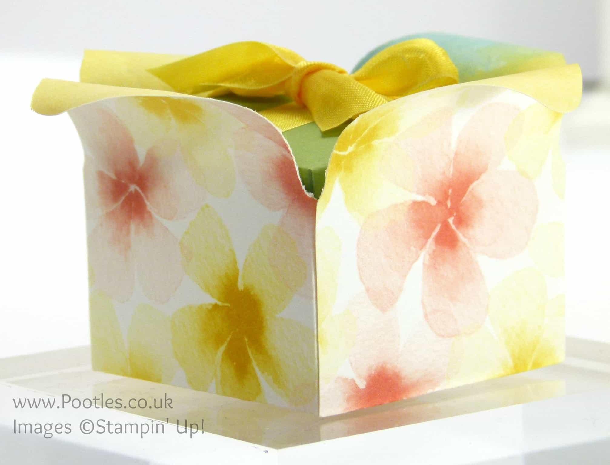 Stampin' up! UK Independent Demonstrator Pootles. Adorable Envelope Punch Board Box in a Flower Tutorial Side Profile