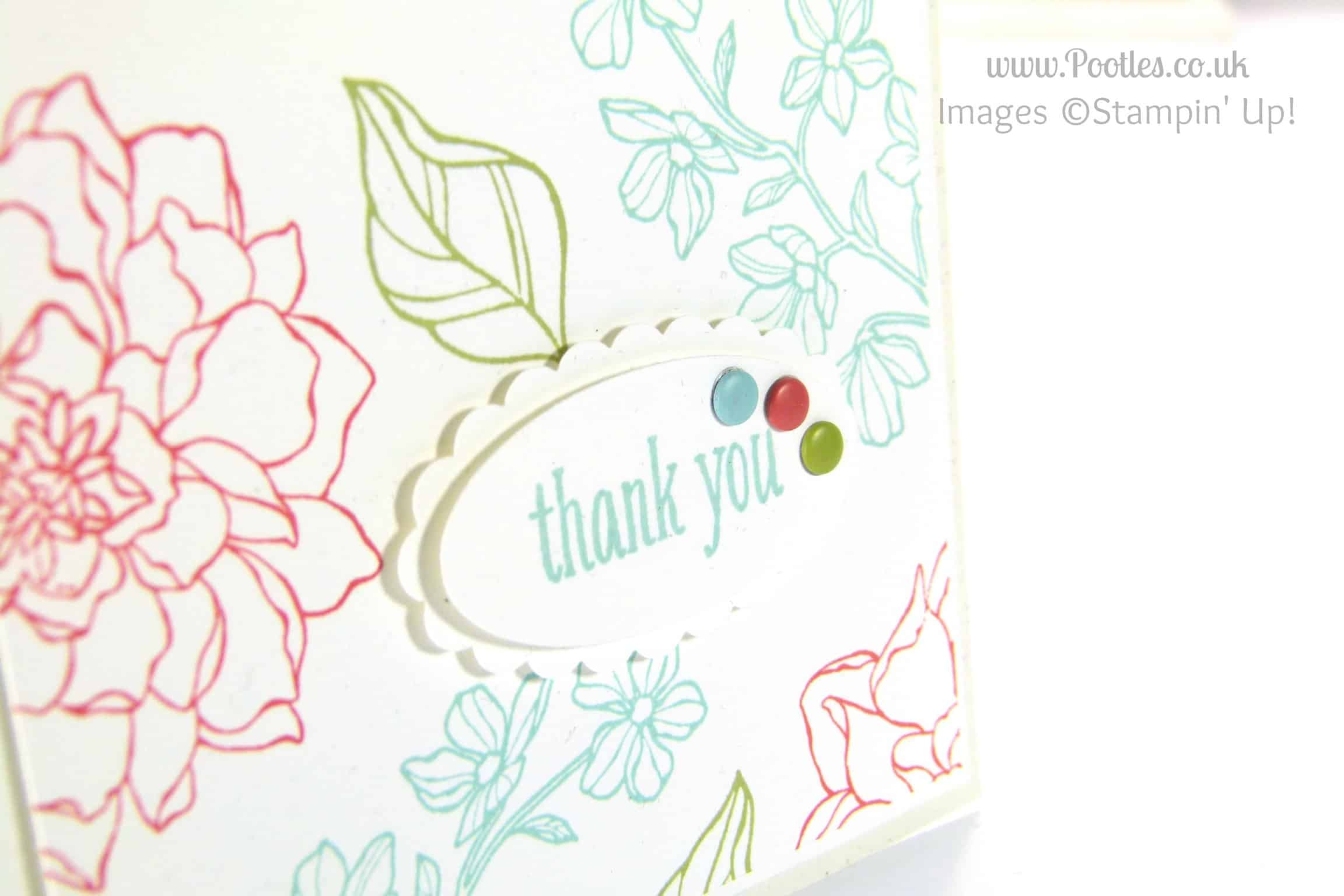 Stampin' Up! UK Independent Demonstrator - Pootles. Peaceful Petals, a Subtles Card! Sentiment Clos Up