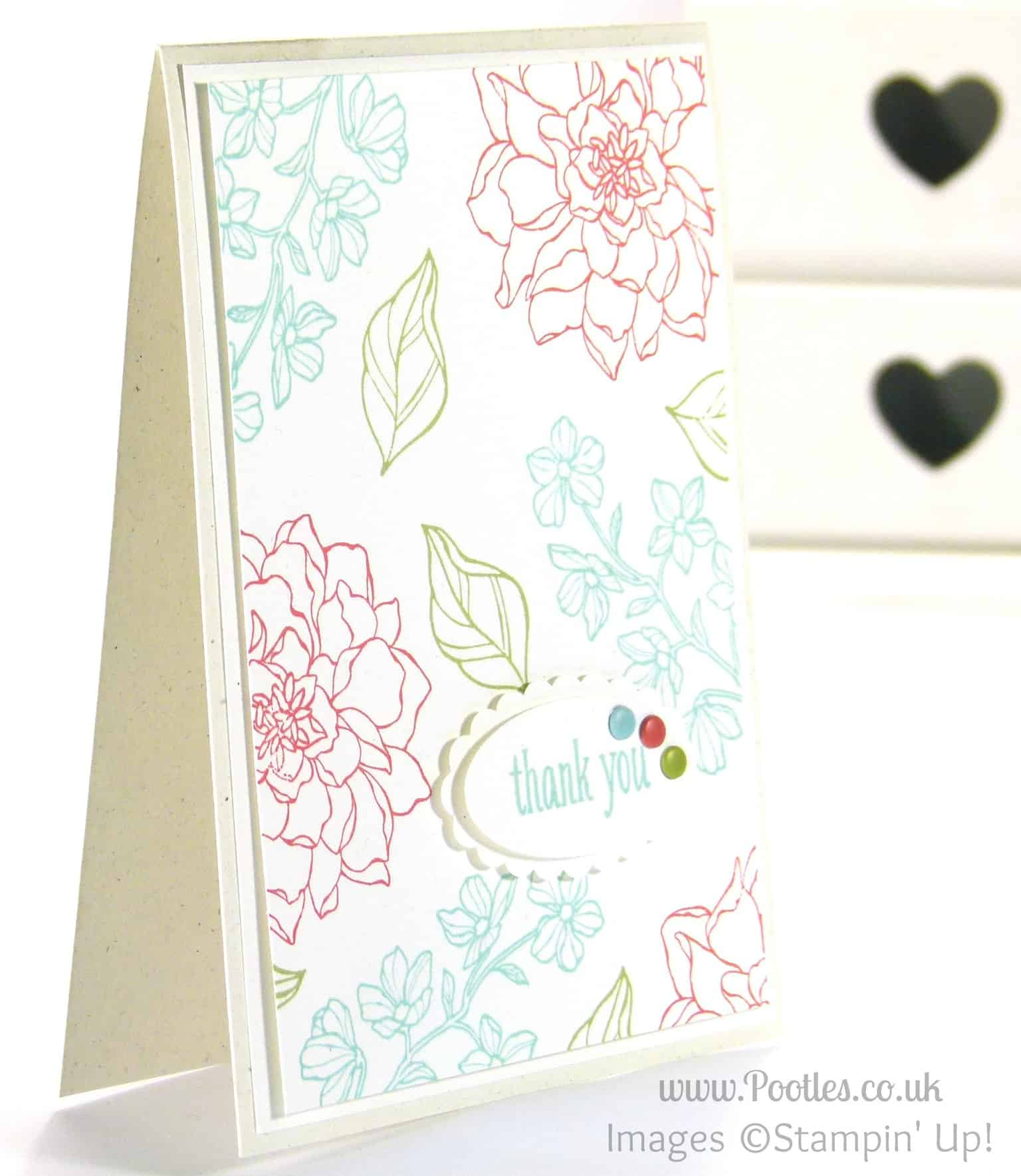 Stampin' Up! UK Independent Demonstrator - Pootles. Peaceful Petals, a Subtles Card!