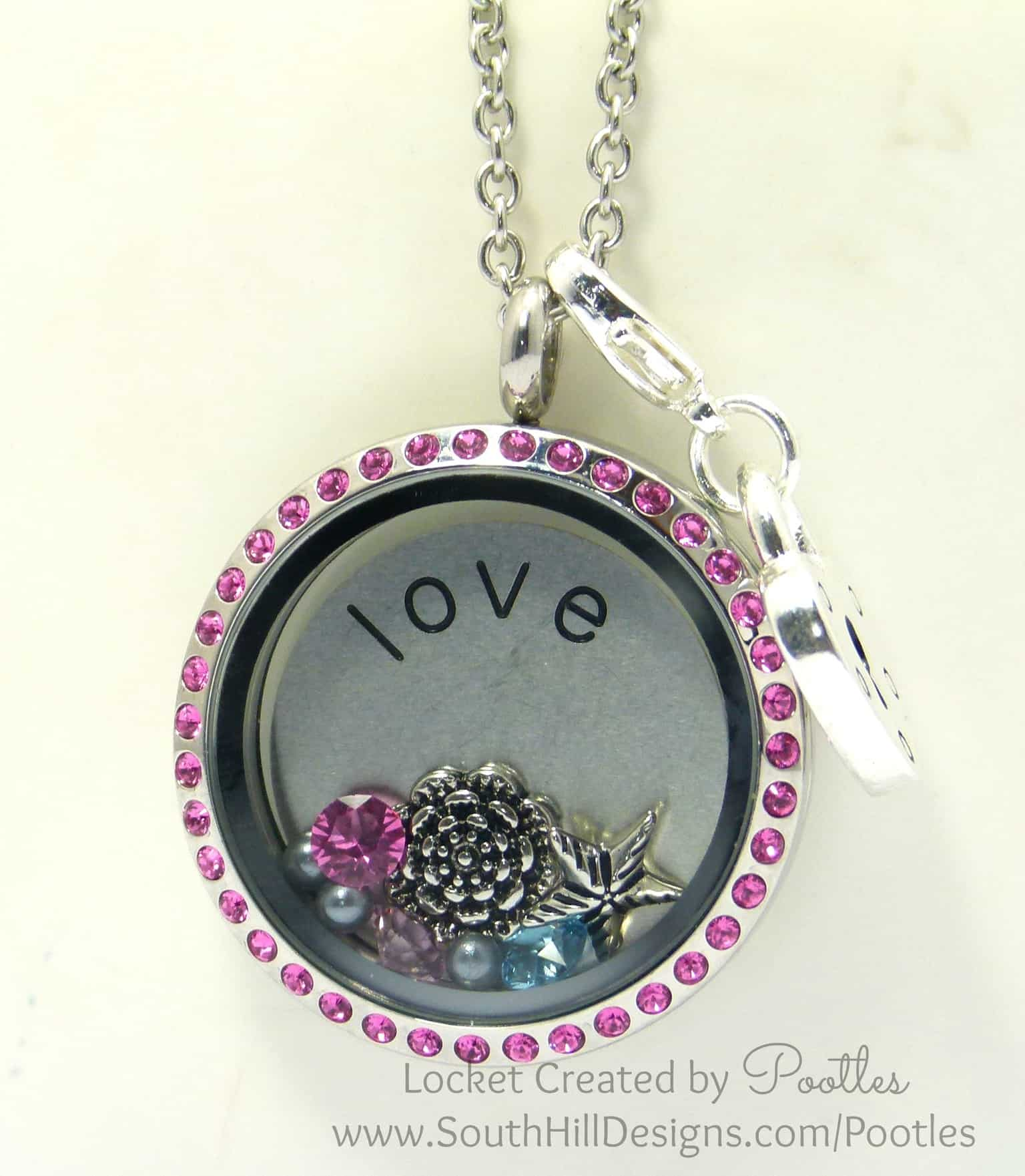 Vintage Pink with a Splash of Blue - South Hill Designs Locket Close Up